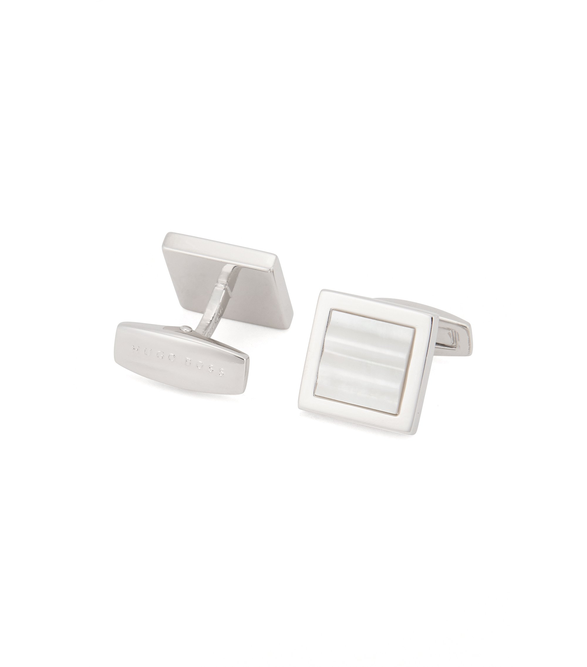 Square cufflinks with mother-of-pearl core, White