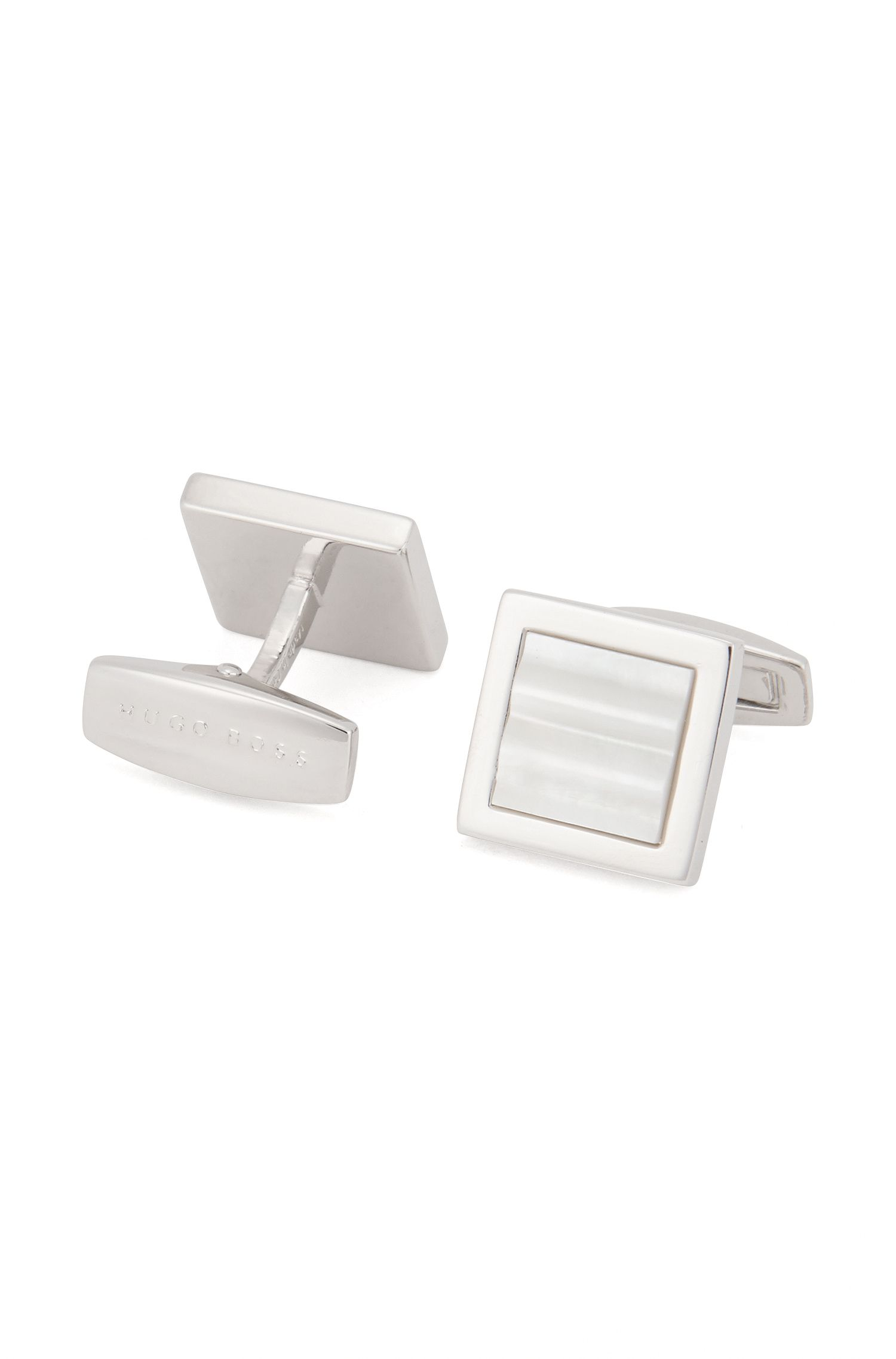 Square cufflinks with mother-of-pearl core