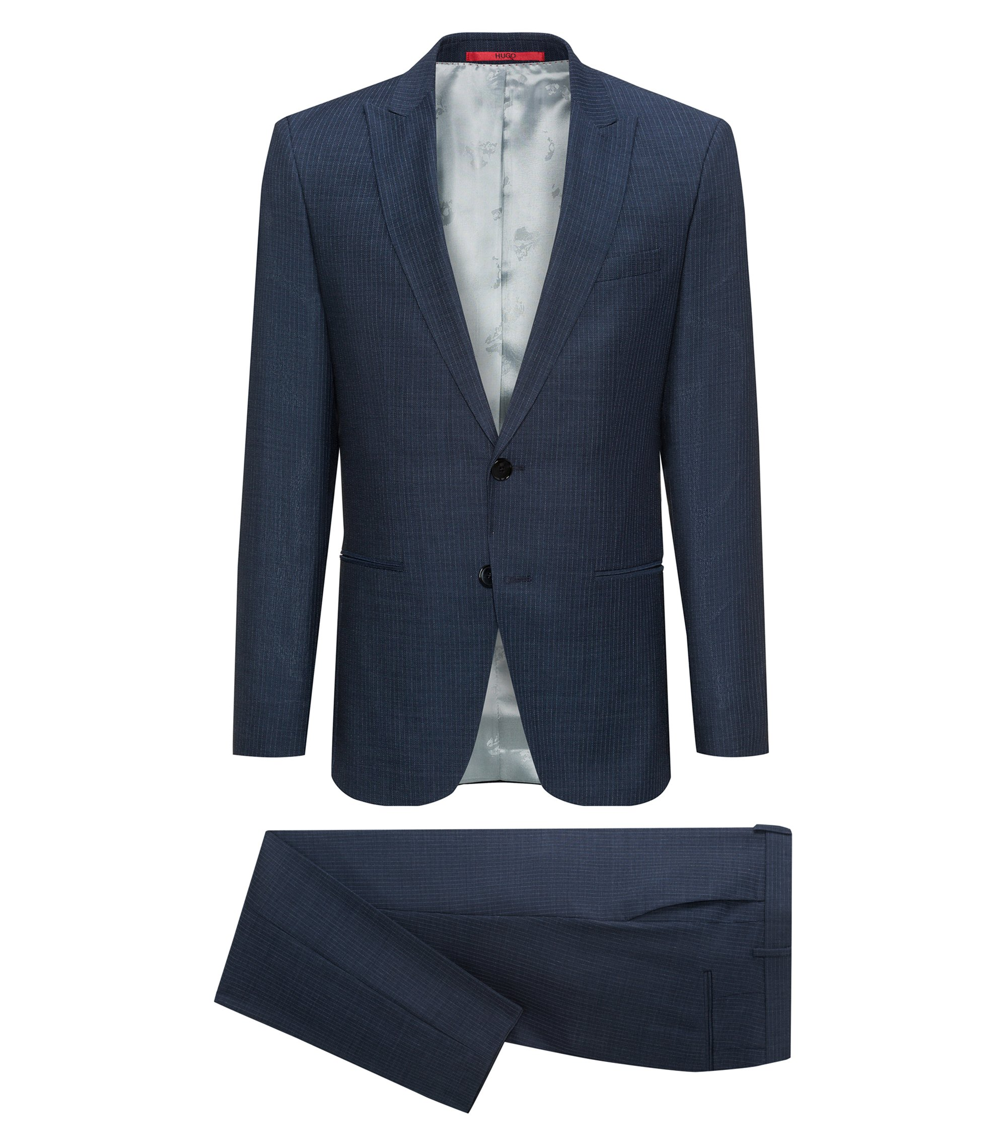 Slim-fit virgin wool serge suit with peak lapels, Blue