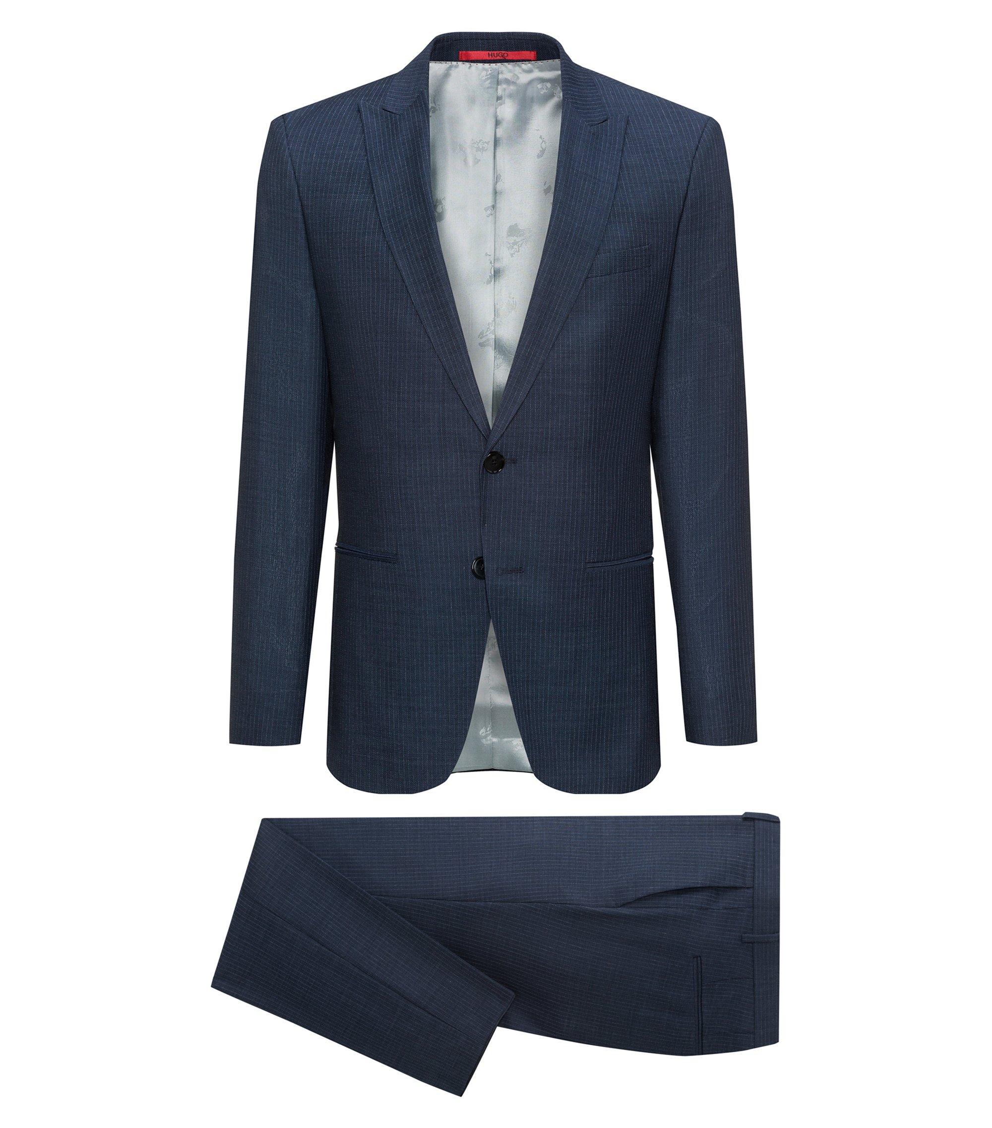 Slim-fit kostuum van scheerwolserge met peak-revers, Blauw