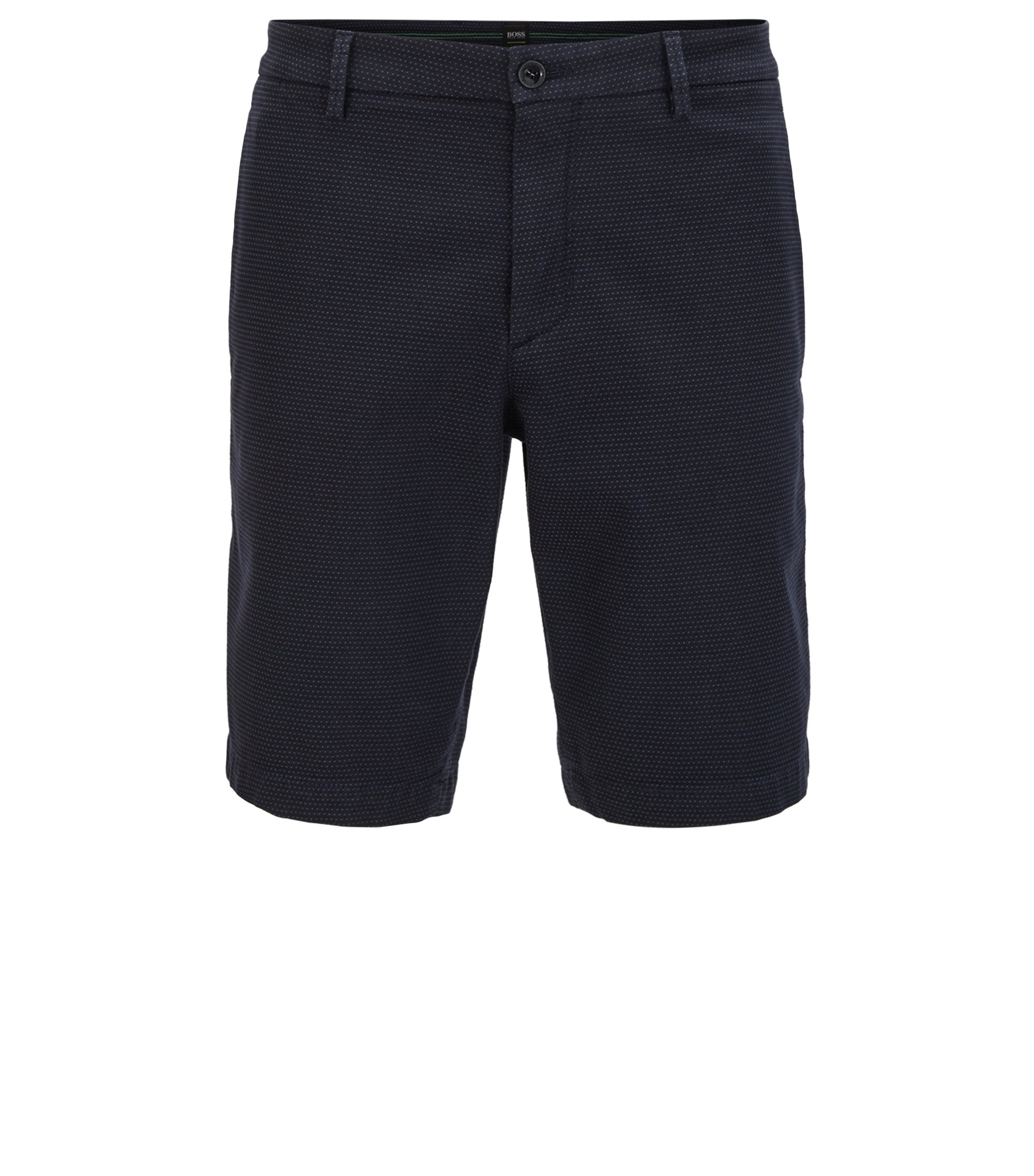 Shorts in micro-structured stretch cotton, Dark Blue