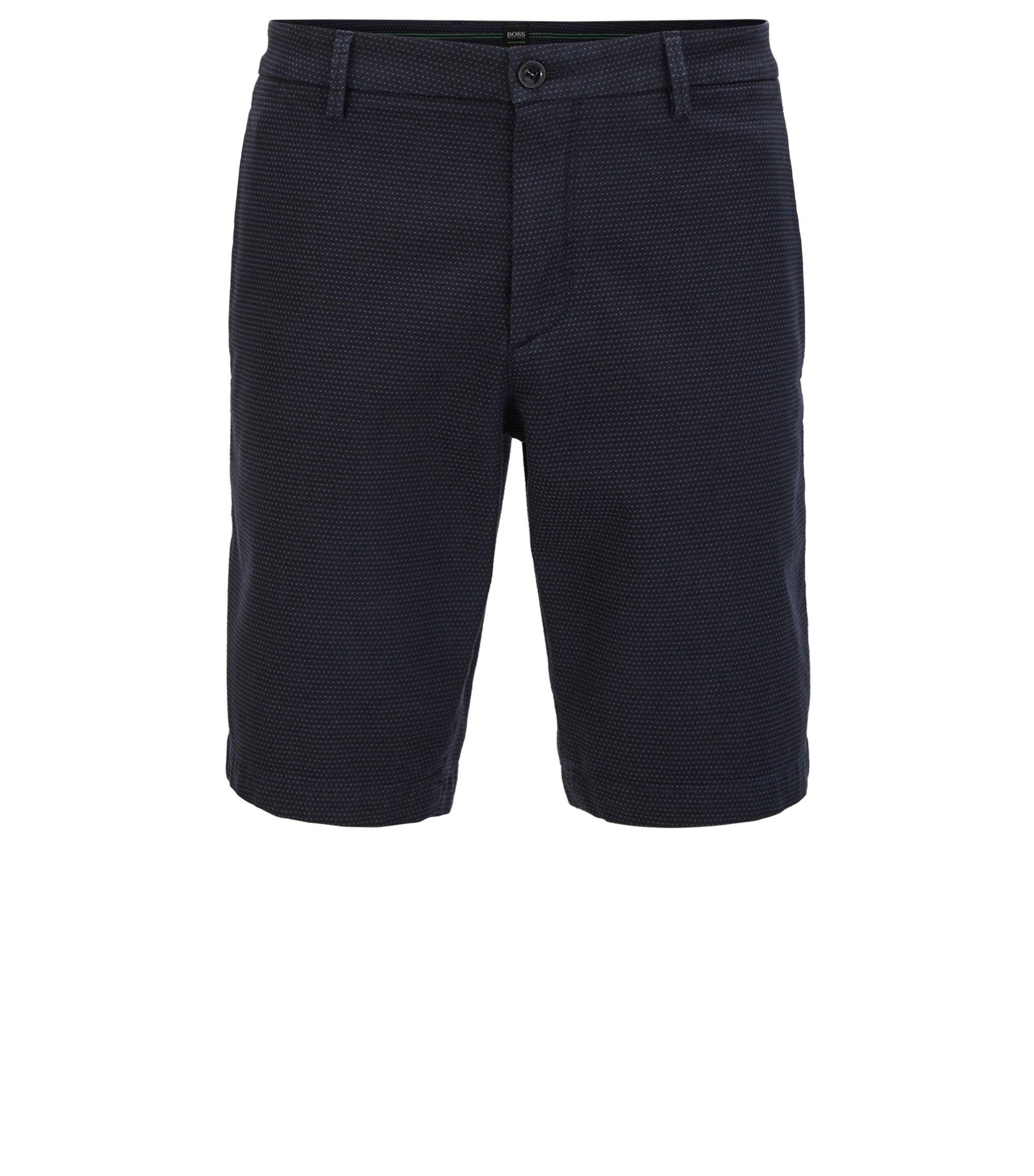 Slim-Fit Shorts aus fein strukturierter Stretch-Baumwolle, Dunkelblau