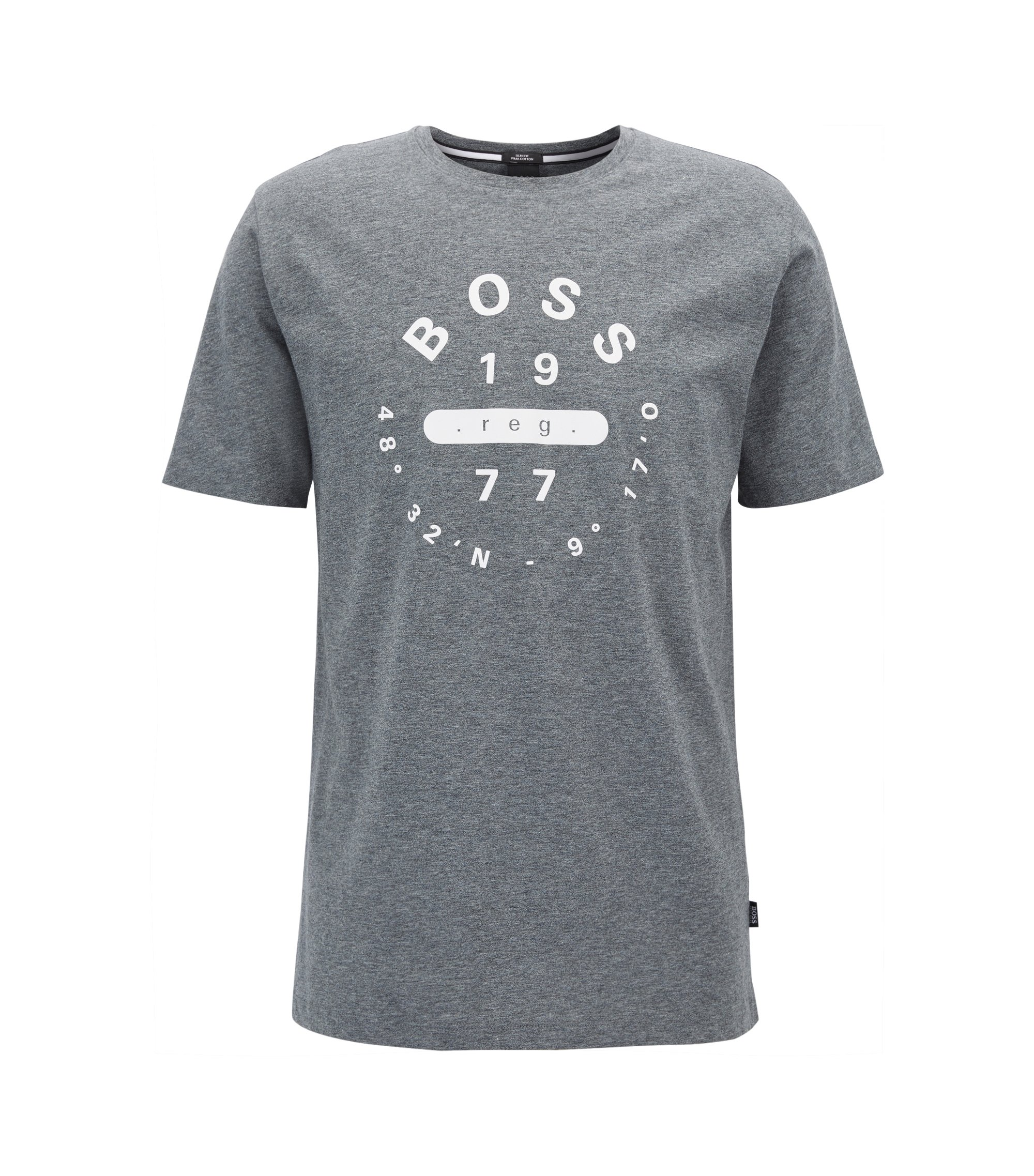 Slim-fit printed T-shirt in Pima cotton, Grey