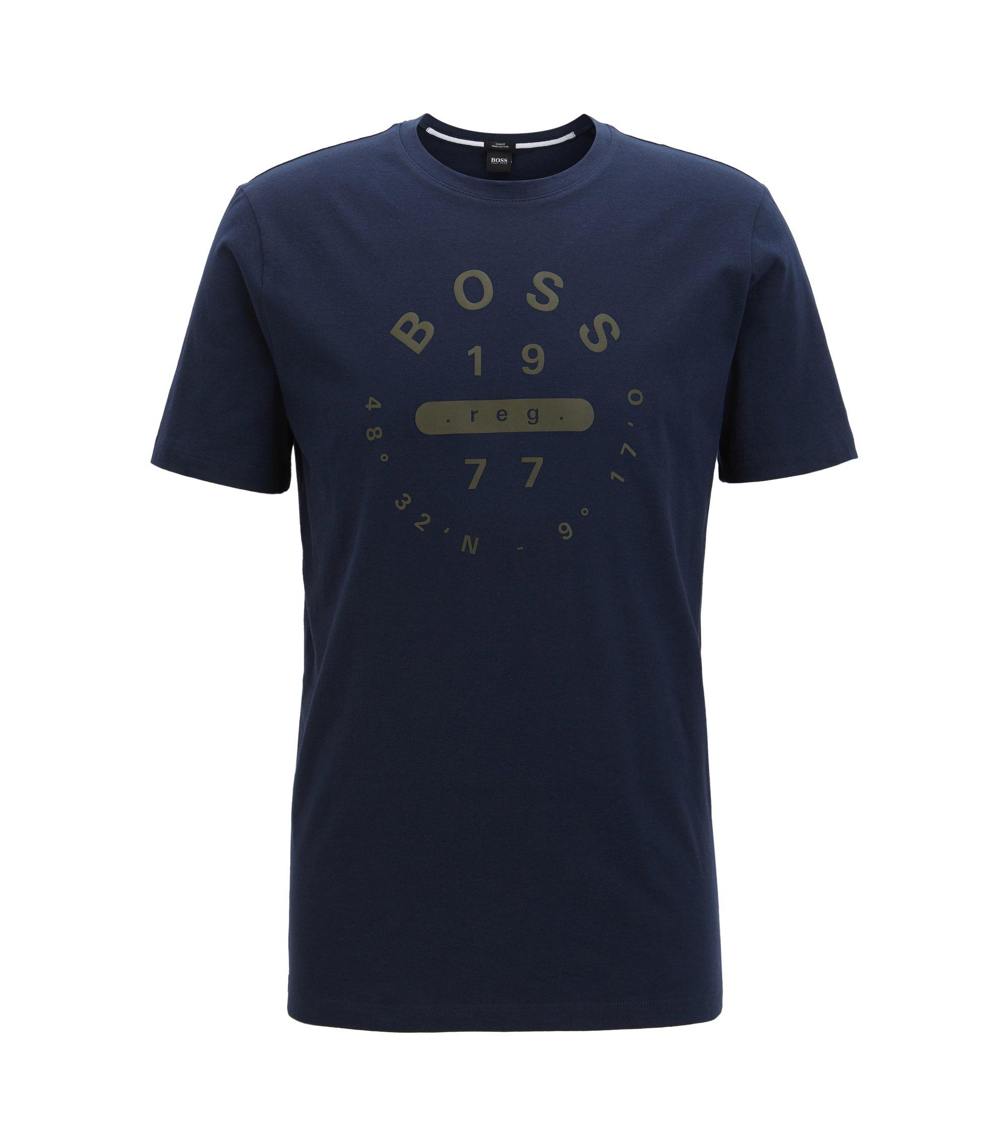 T-shirt Slim Fit en coton Pima à imprimé, Bleu foncé