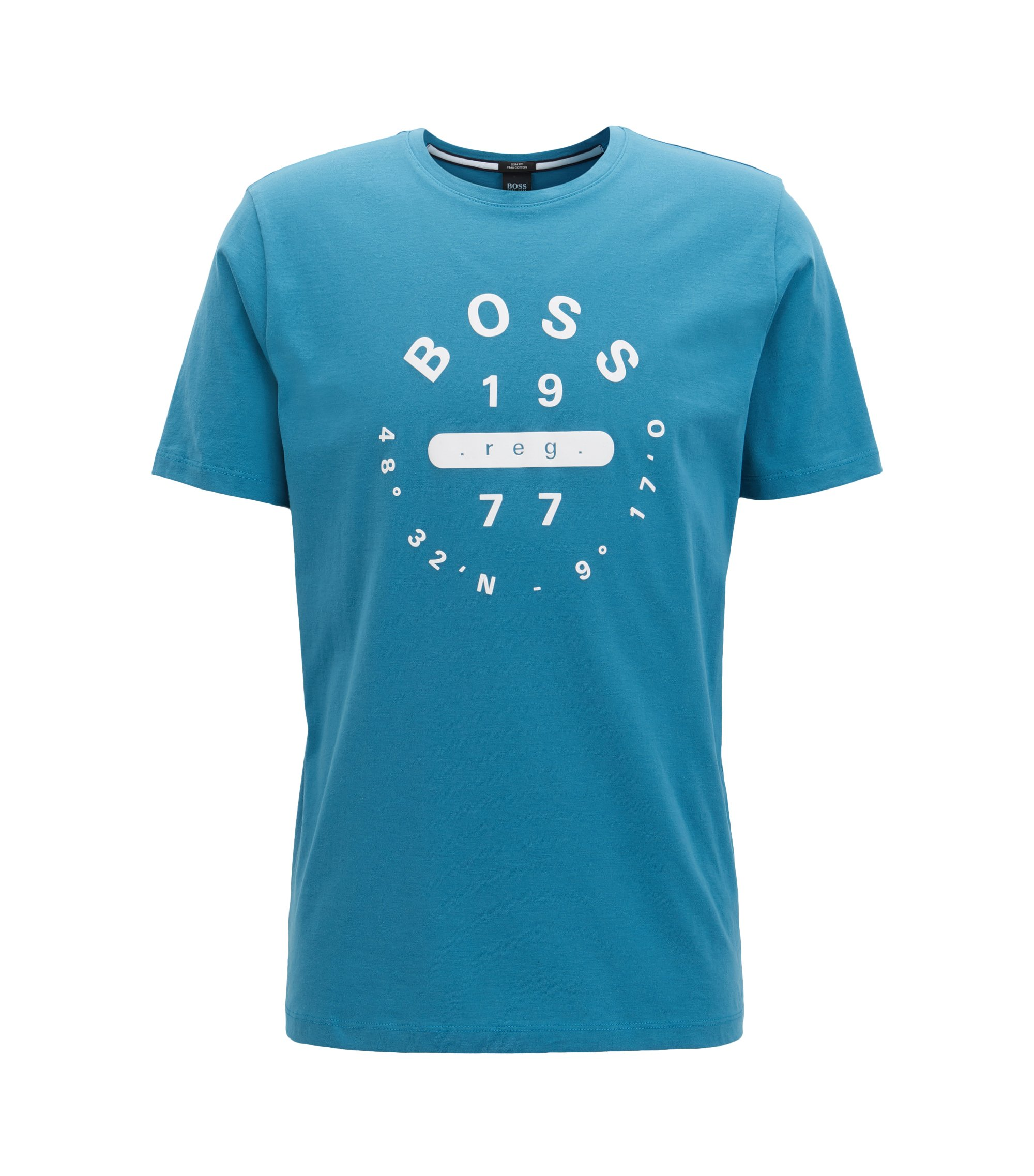 Slim-fit printed T-shirt in Pima cotton, Turquoise