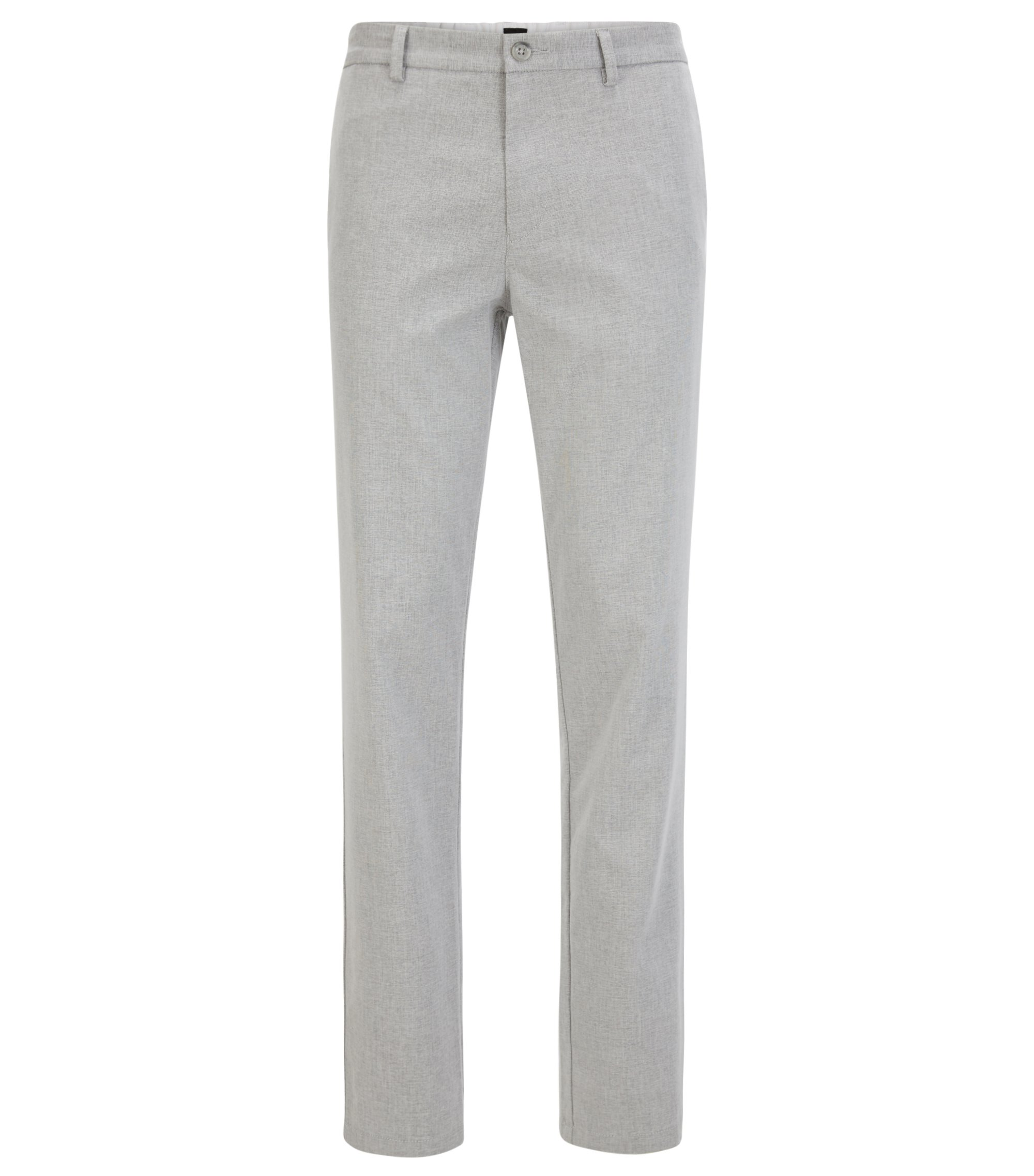 Slim-fit trousers in a cotton blend, Light Grey