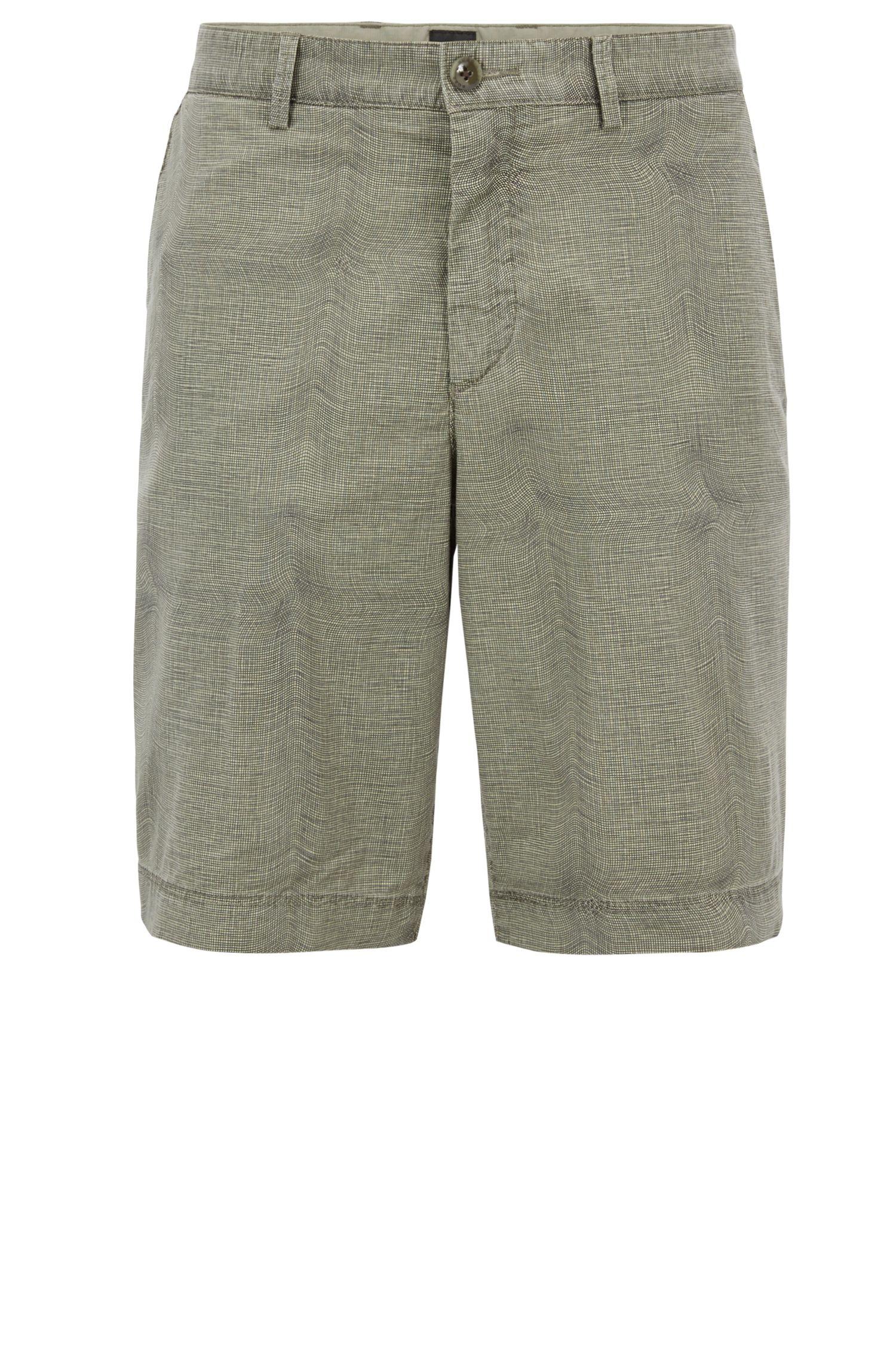 Shorts en algodón elástico con microcuadros