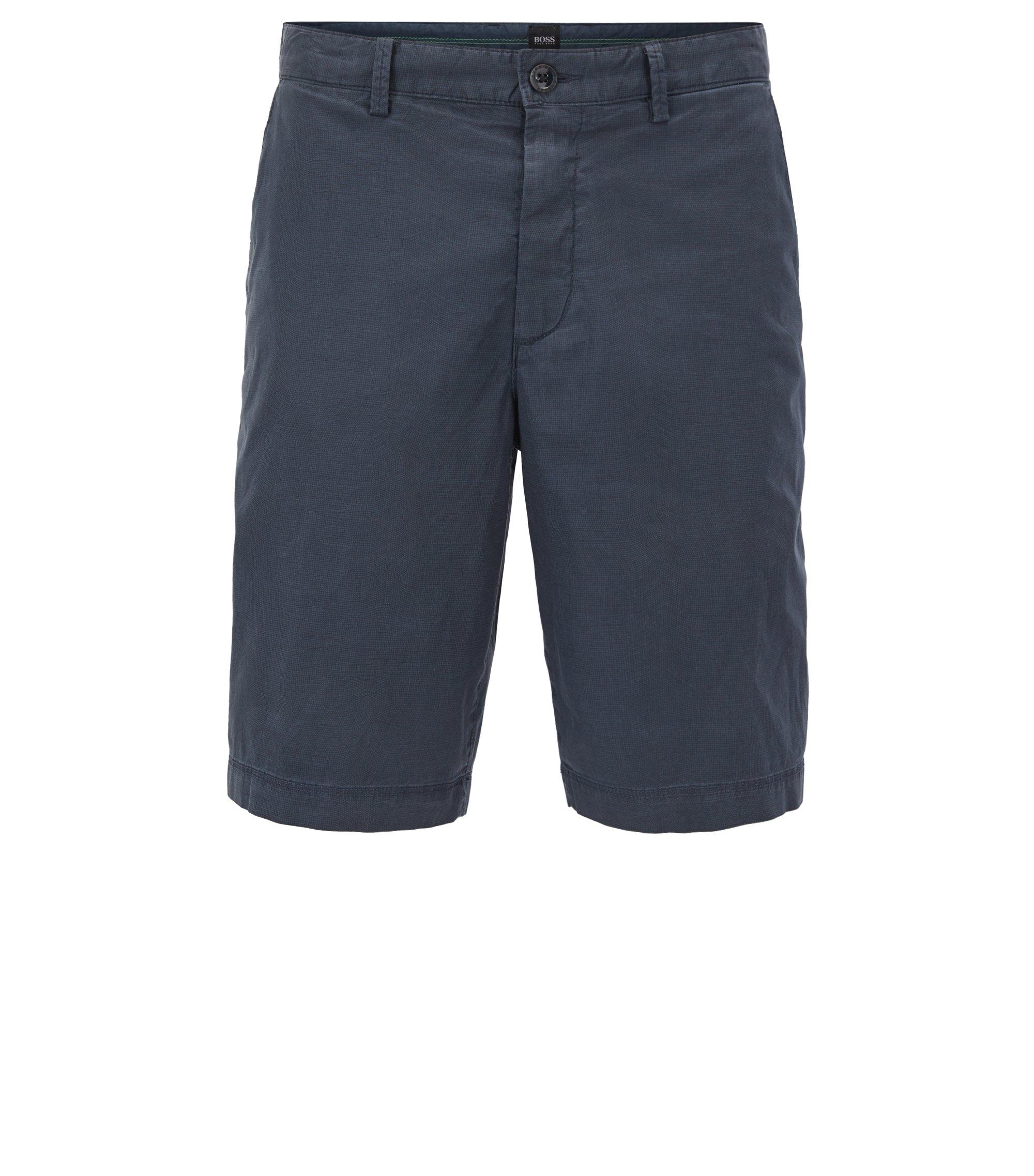 Shorts aus Stretch-Baumwolle mit filigranem Karomuster , Dunkelblau
