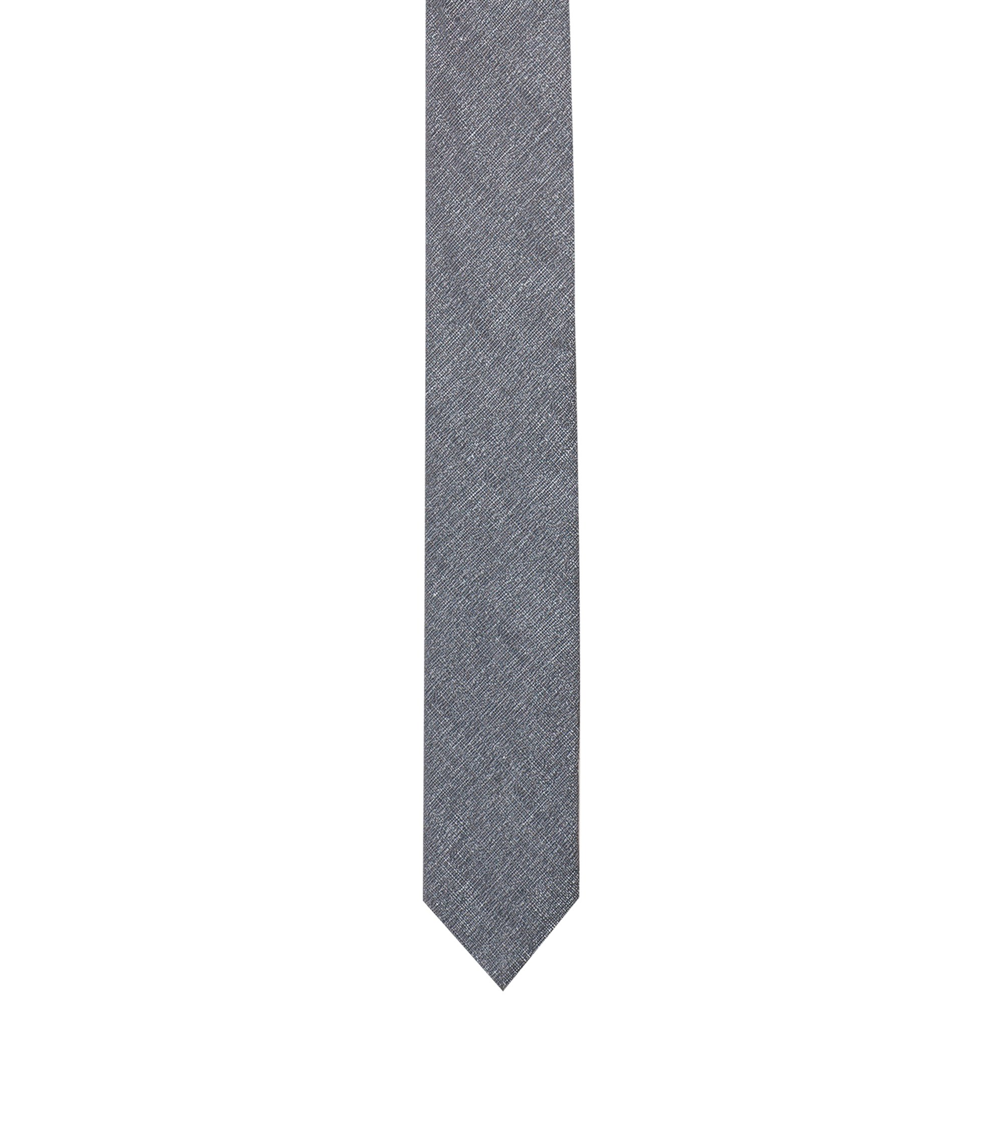 Jacquard tie in a linen blend, Grey