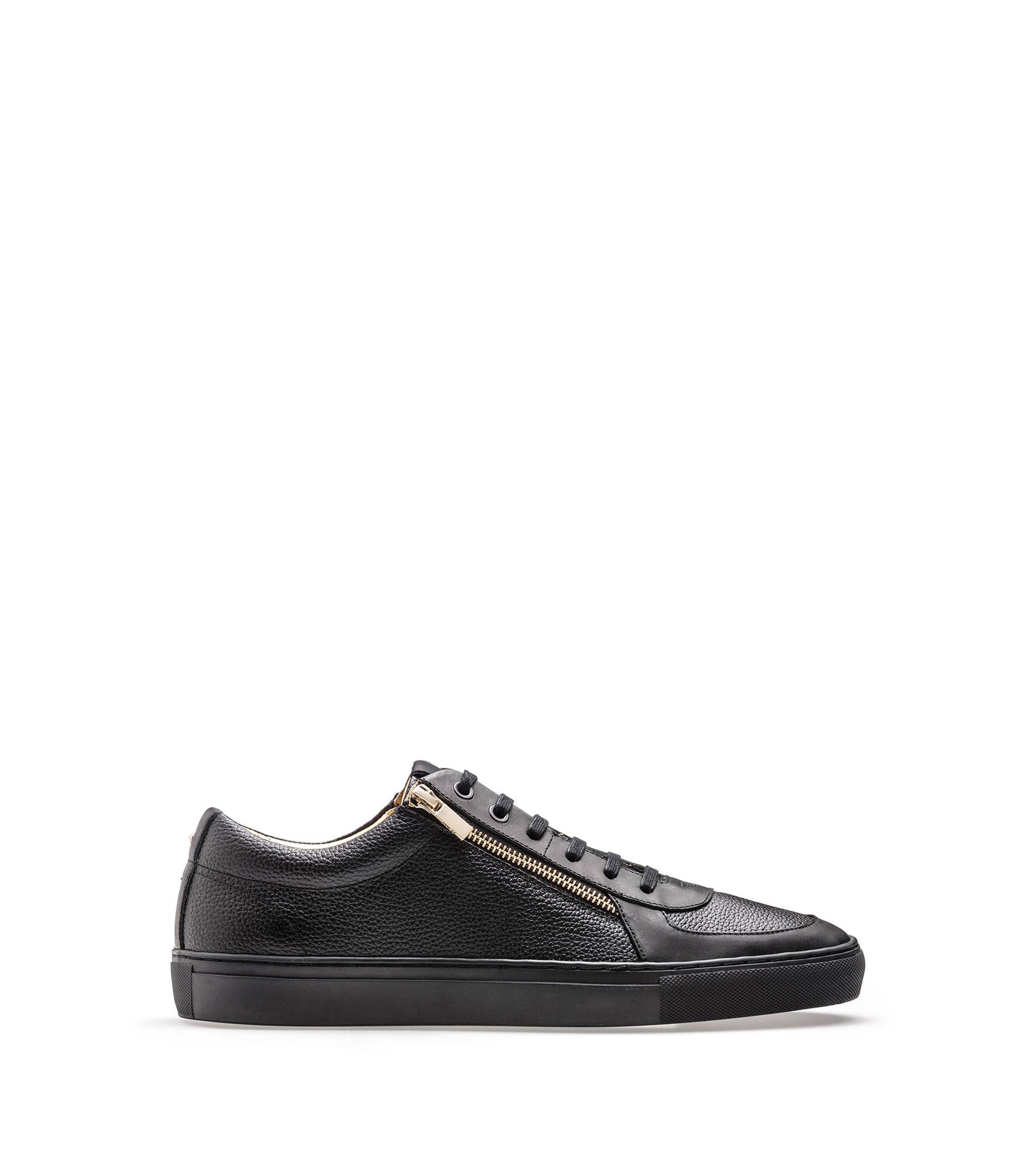 Sneakers aus gewalktem Leder und Nappaleder mit Reißverschlüssen, Schwarz