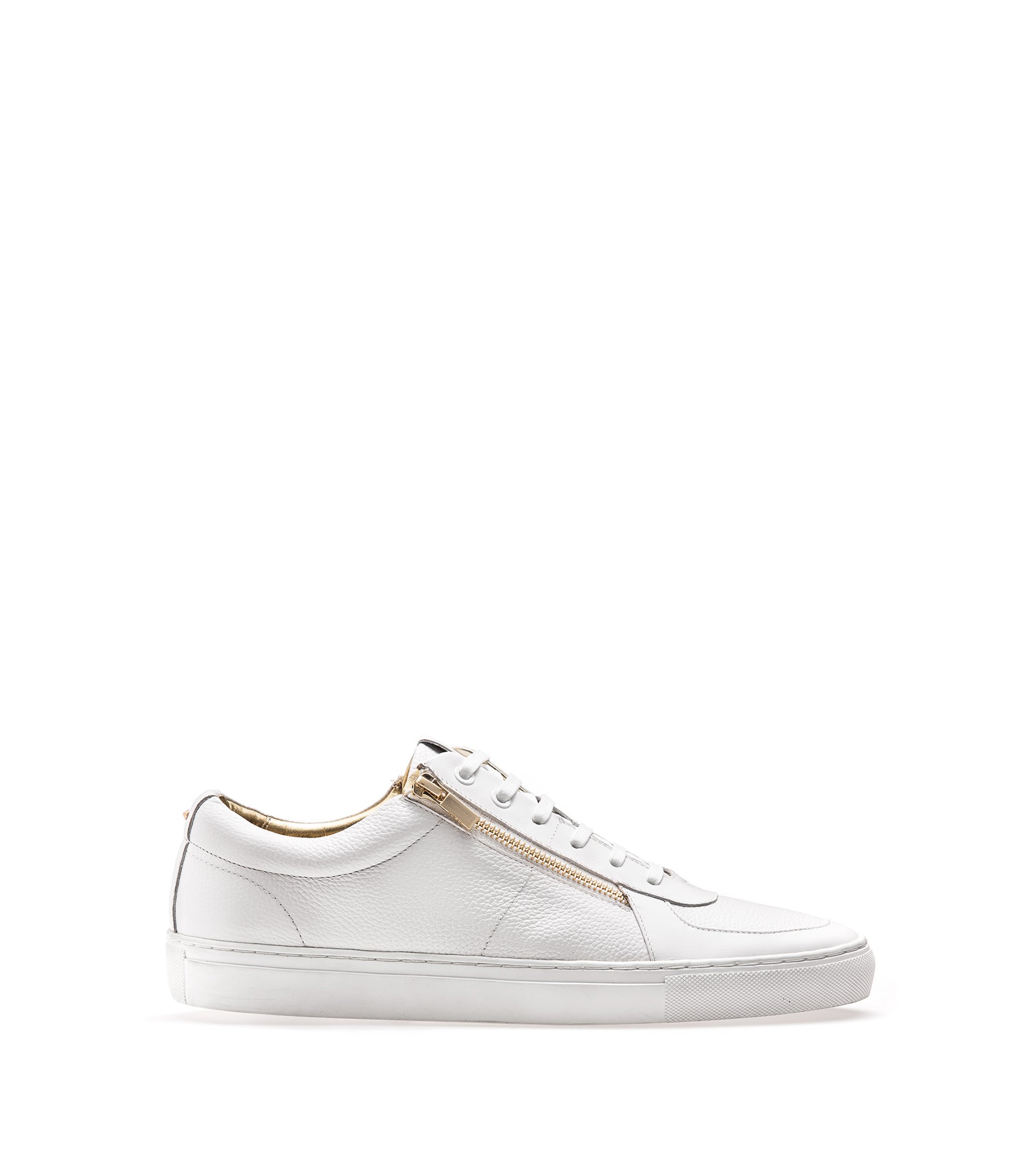 Sneakers low-top in pelle nappa e pelle martellata con doppia zip, Bianco