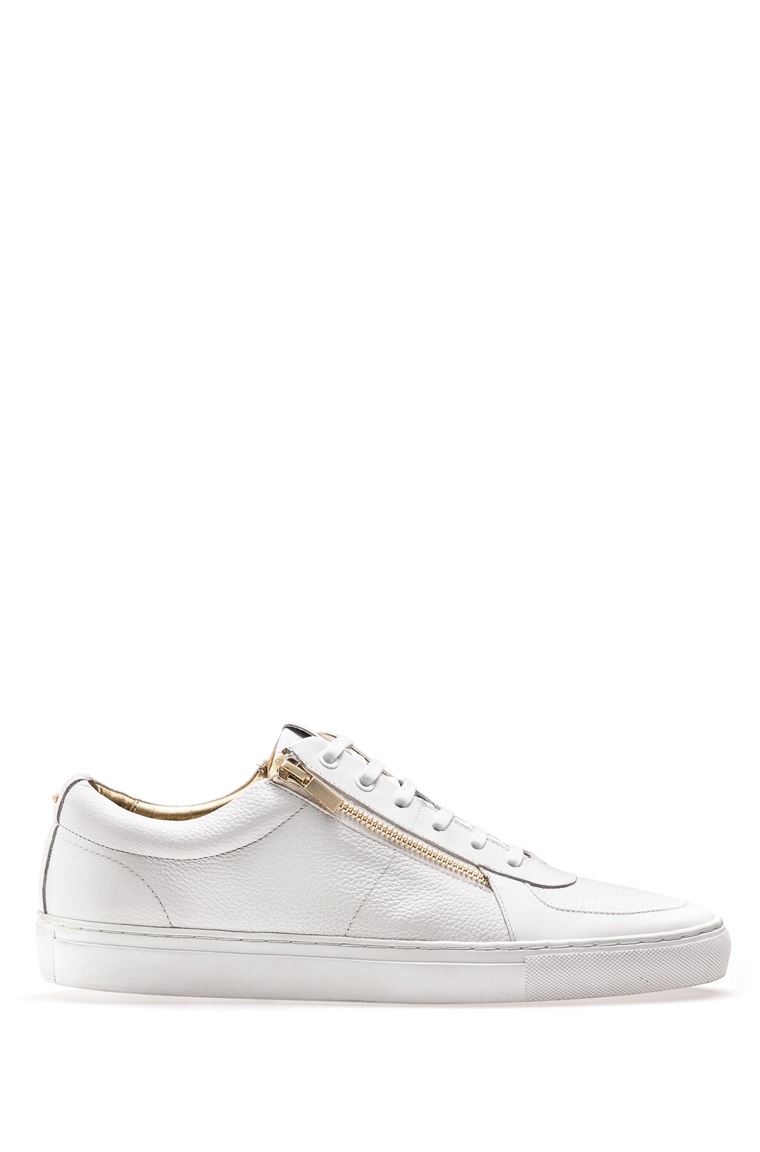 Low-top trainers in tumbled and nappa leather with double zip detail