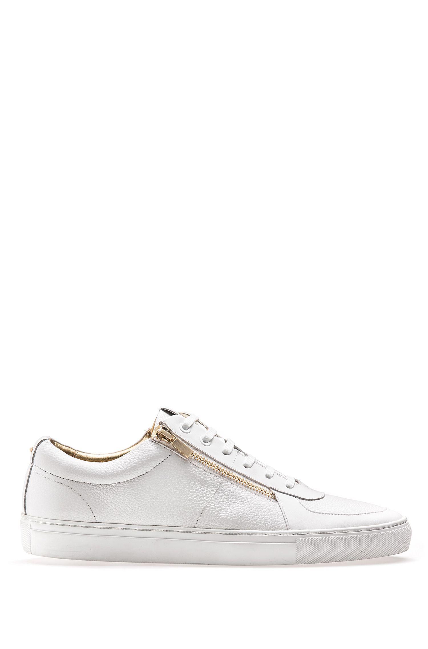 Sneakers aus gewalktem Leder und Nappaleder mit Reißverschlüssen