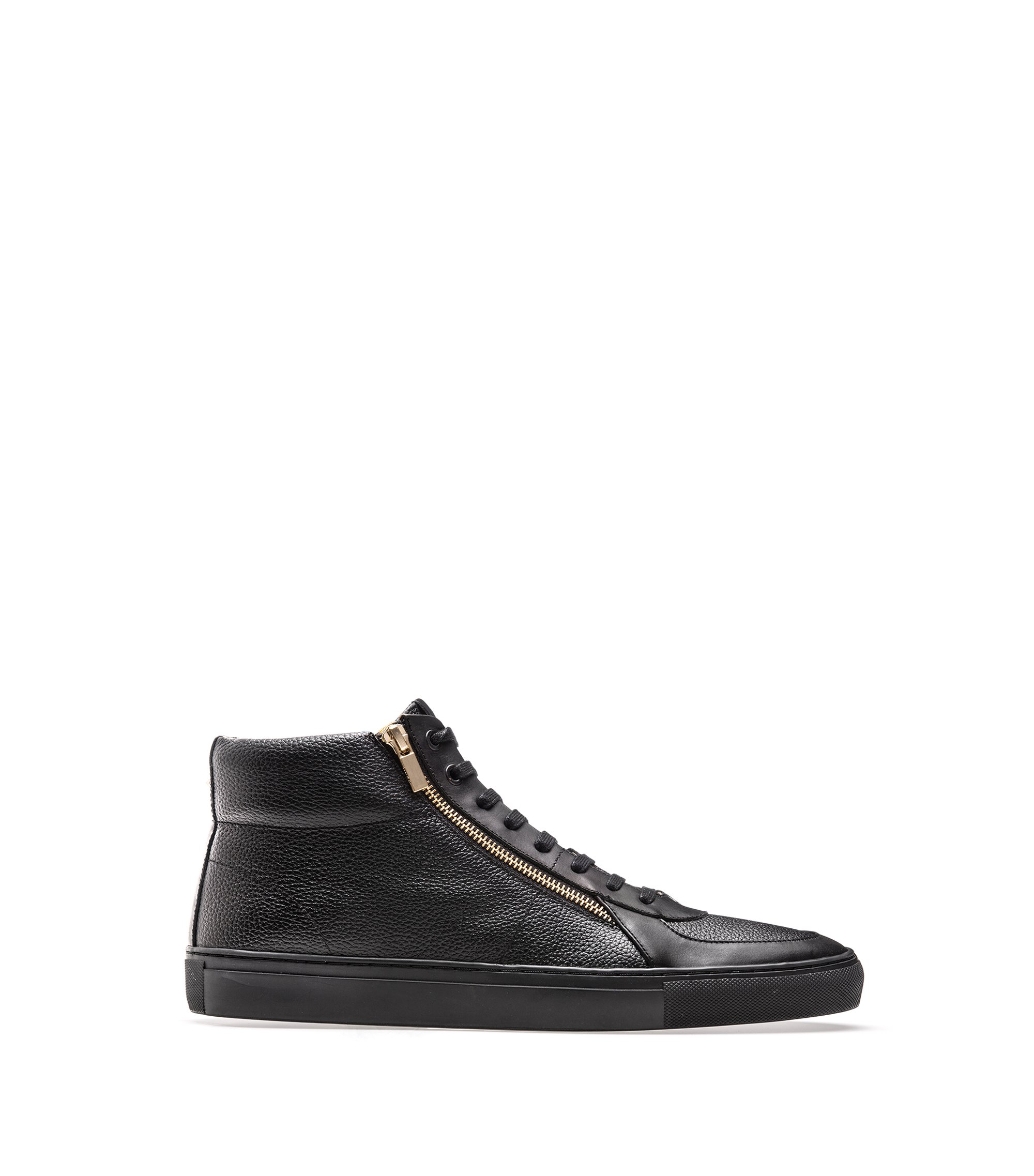 High-top trainers in tumbled and nappa leather with double zip detail, Black