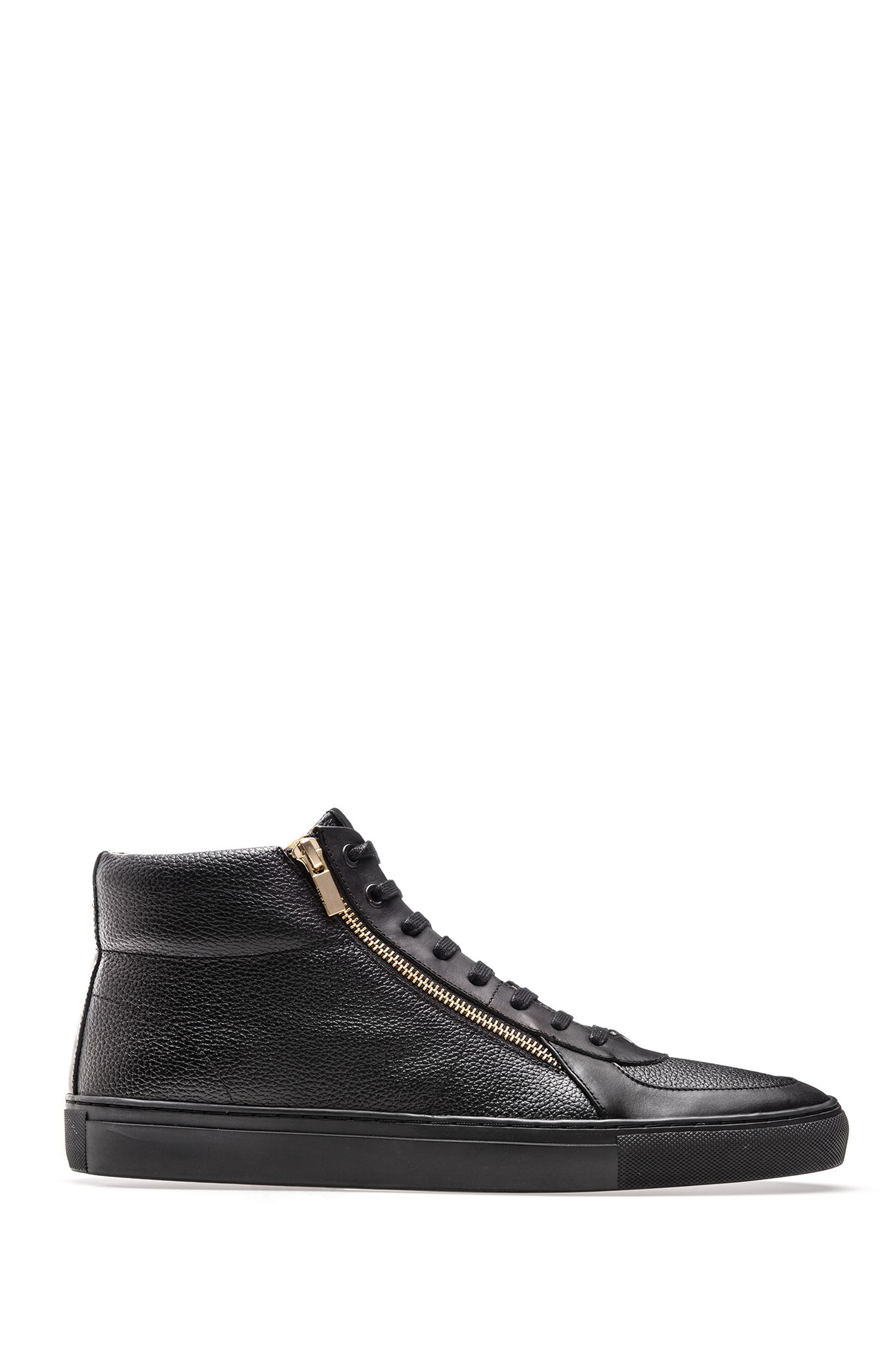 High-top trainers in tumbled and nappa leather with double zip detail