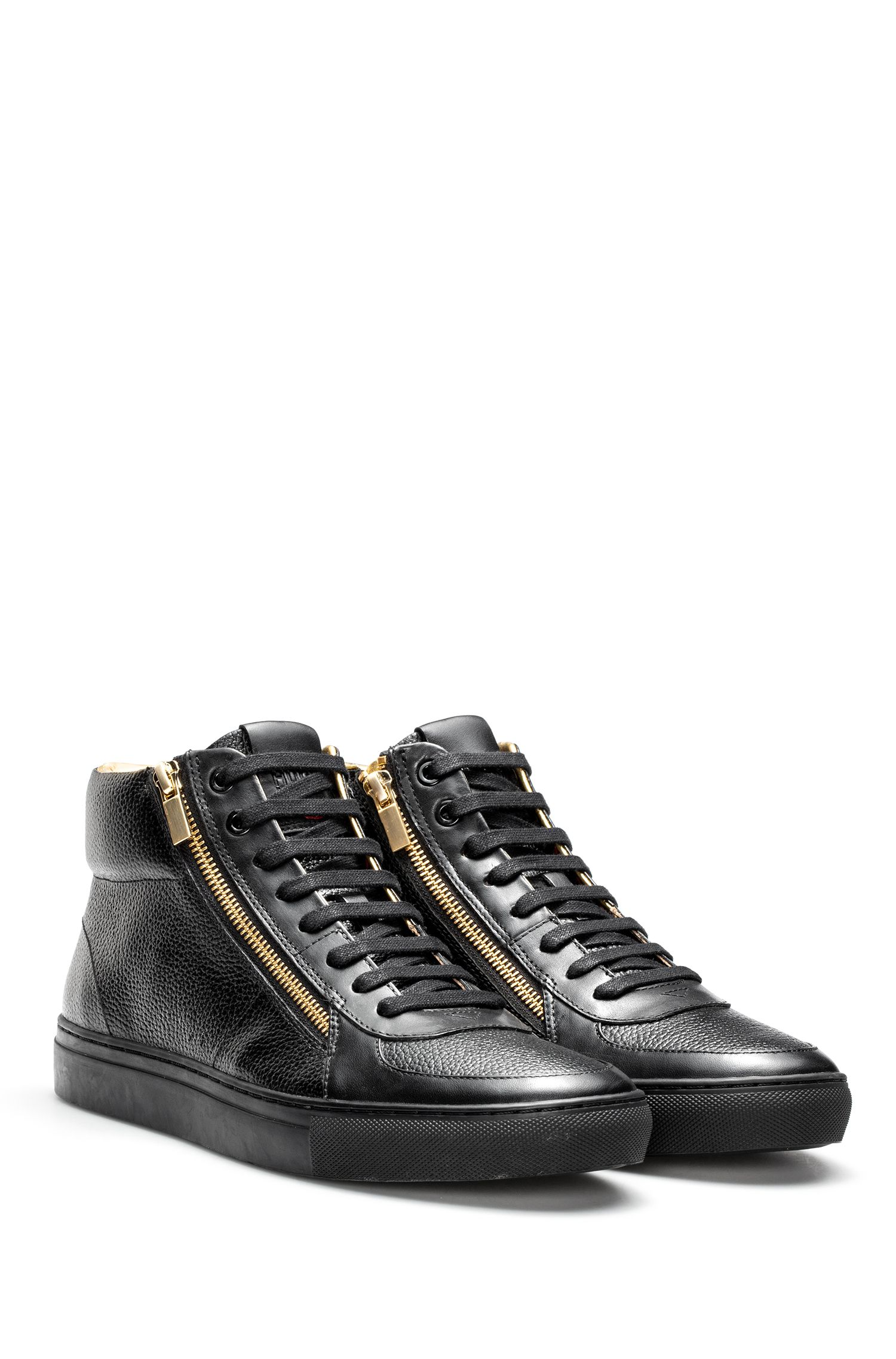 High-top trainers in tumbled and nappa leather with double zip detail HUGO BOSS