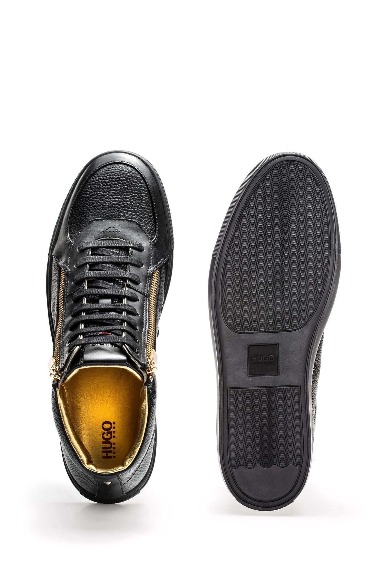 Sneakers high-top in pelle nappa e pelle martellata con doppia zip