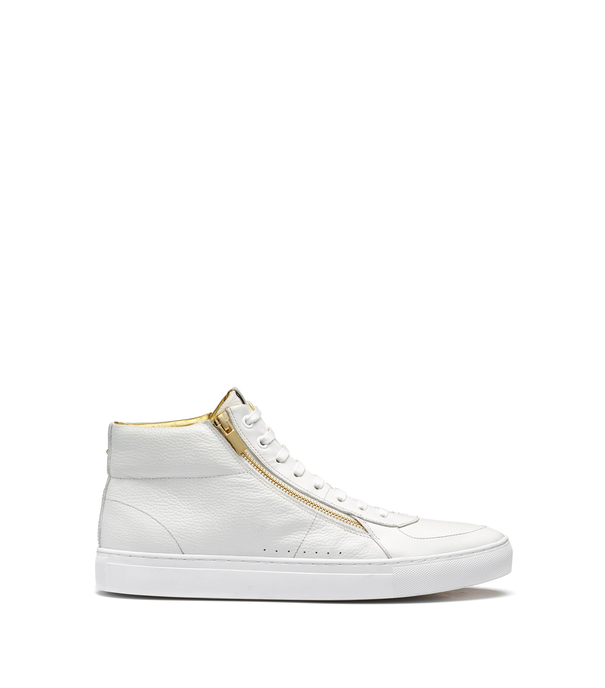 Sneakers high-top in pelle nappa e pelle martellata con doppia zip, Bianco