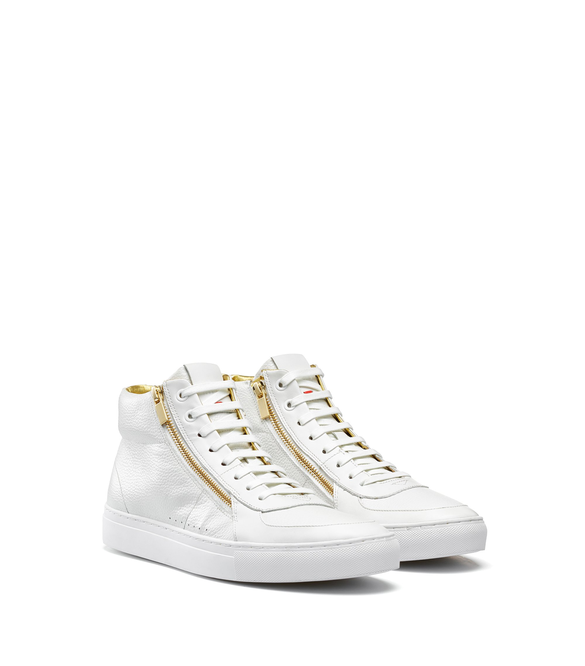 High-top trainers in tumbled and nappa leather with double zip detail, White