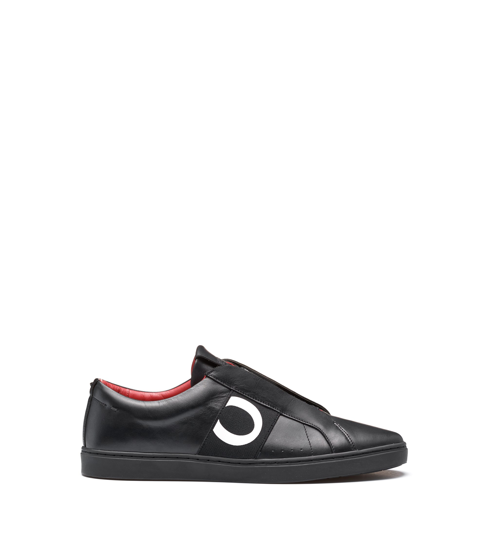Leather trainers with statement logo, Black