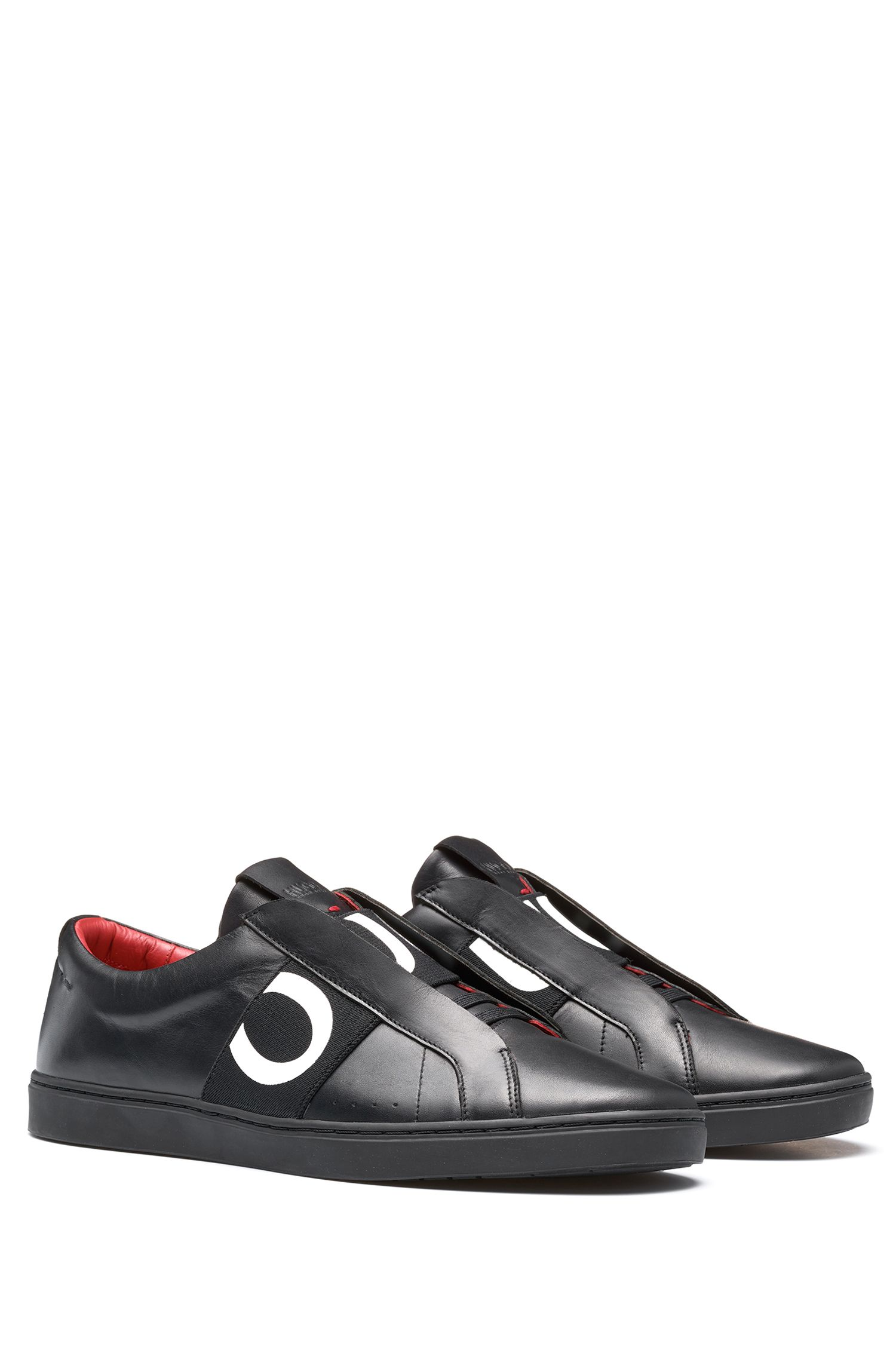 Leather trainers with statement logo