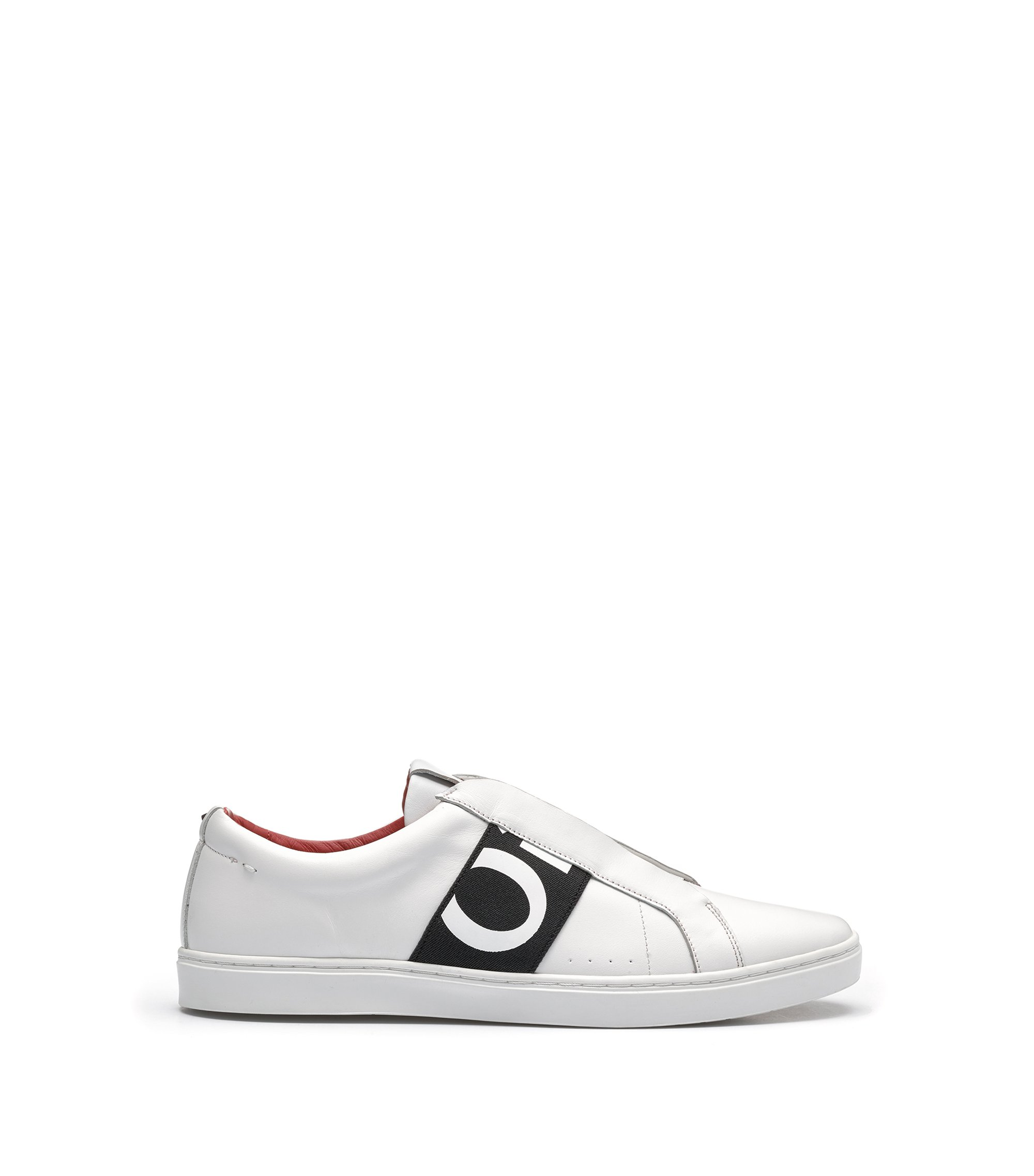 Leather trainers with statement logo, White