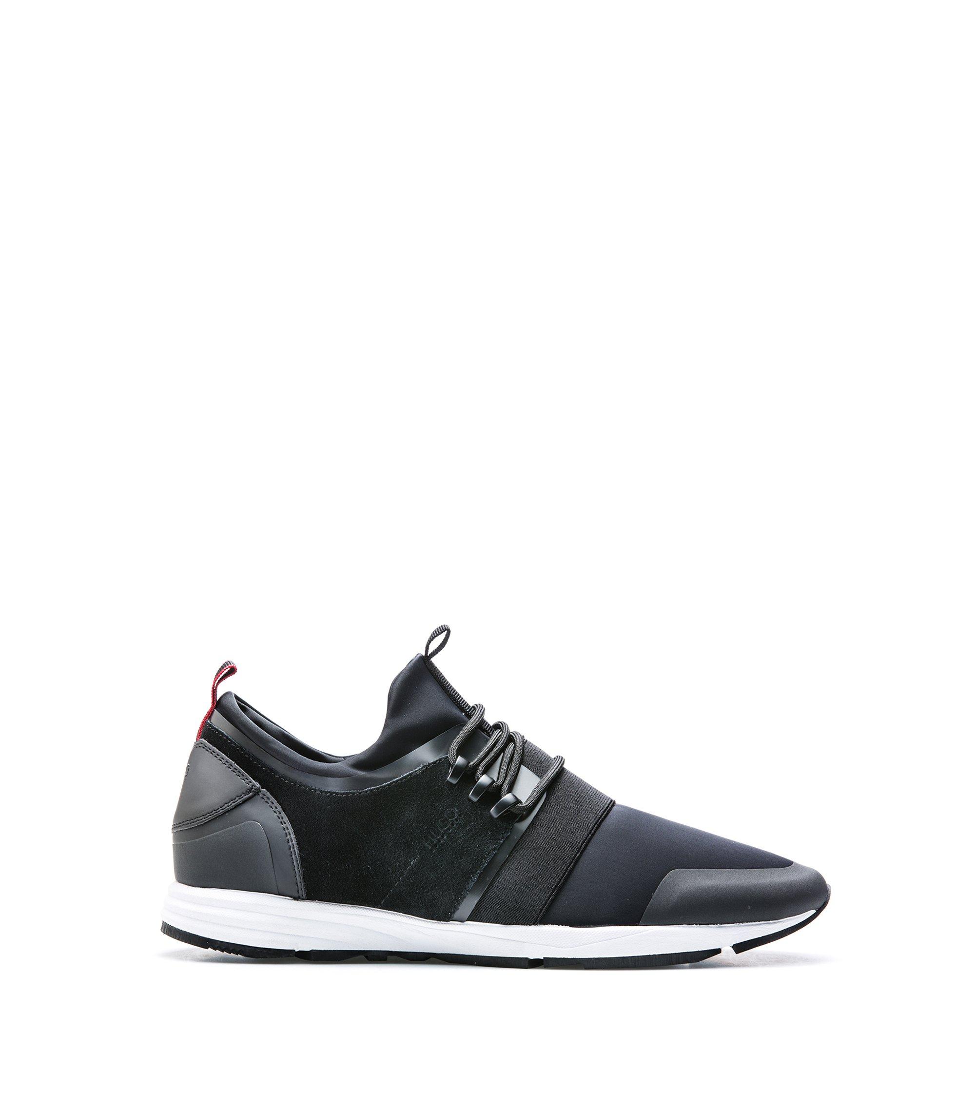 Sneakers aus Material-Mix mit Neopren-Einlage, Schwarz