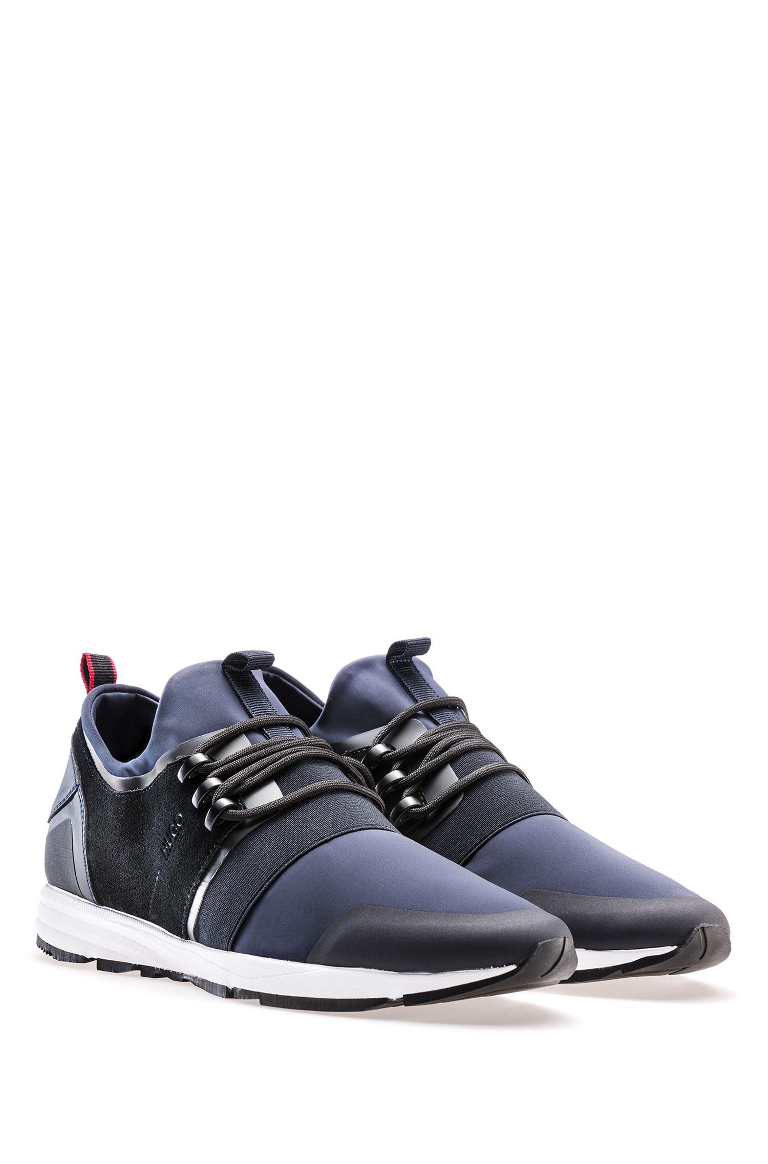 Sneakers aus Material-Mix mit Neopren-Einlage, Dunkelblau