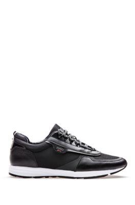 Sneakers aus Leder und Material-Mix mit Schnürung, Schwarz