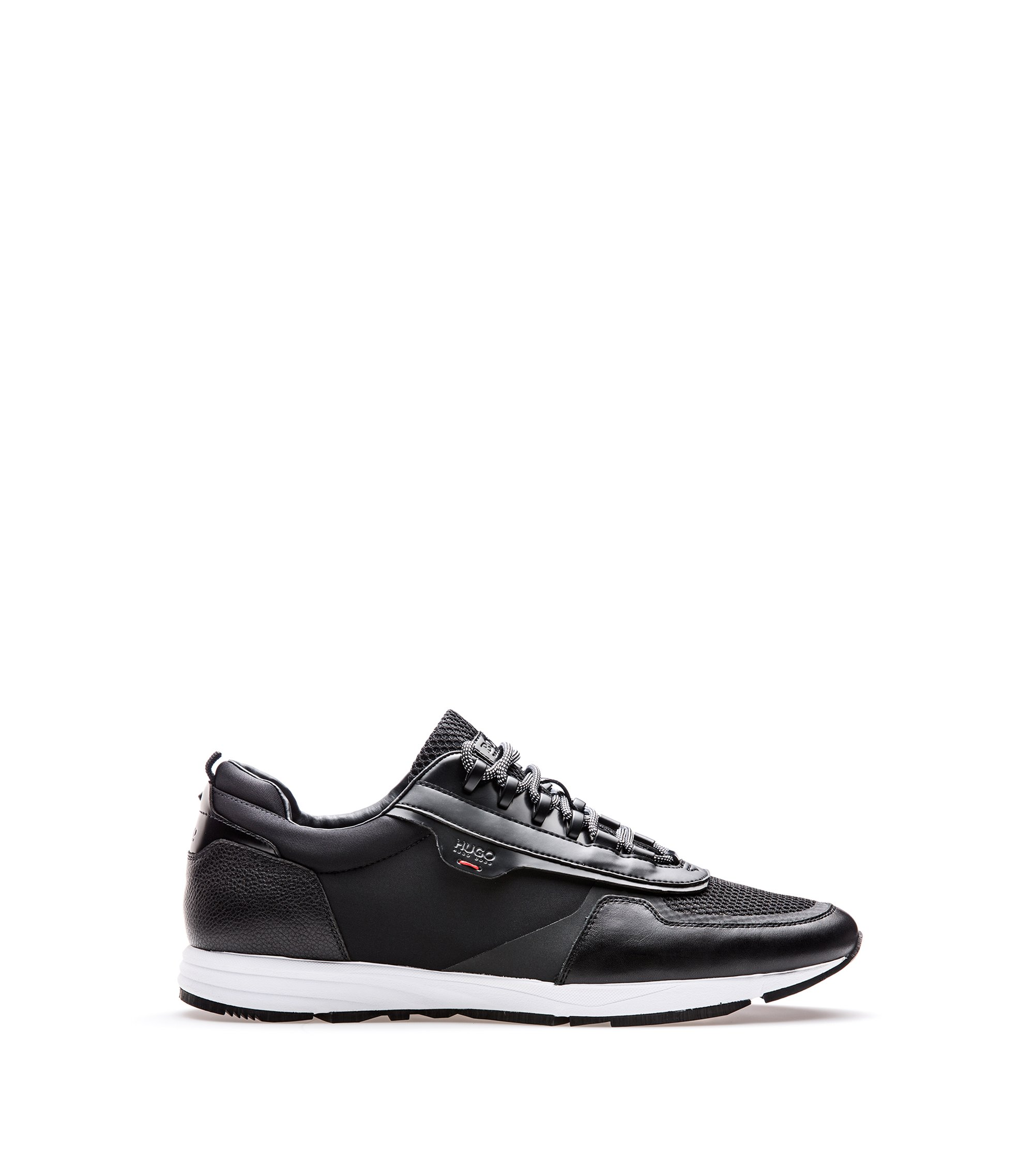Lace-up running trainers with hybrid uppers, Black