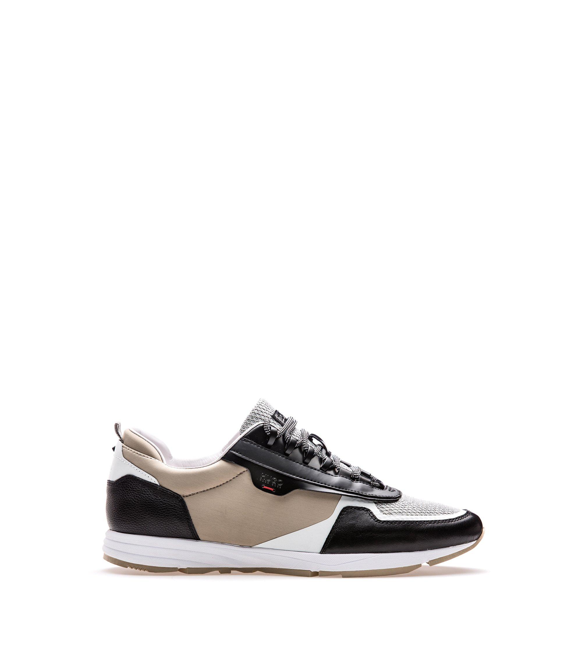 Sneakers aus Leder und Material-Mix mit Schnürung, Hellbeige