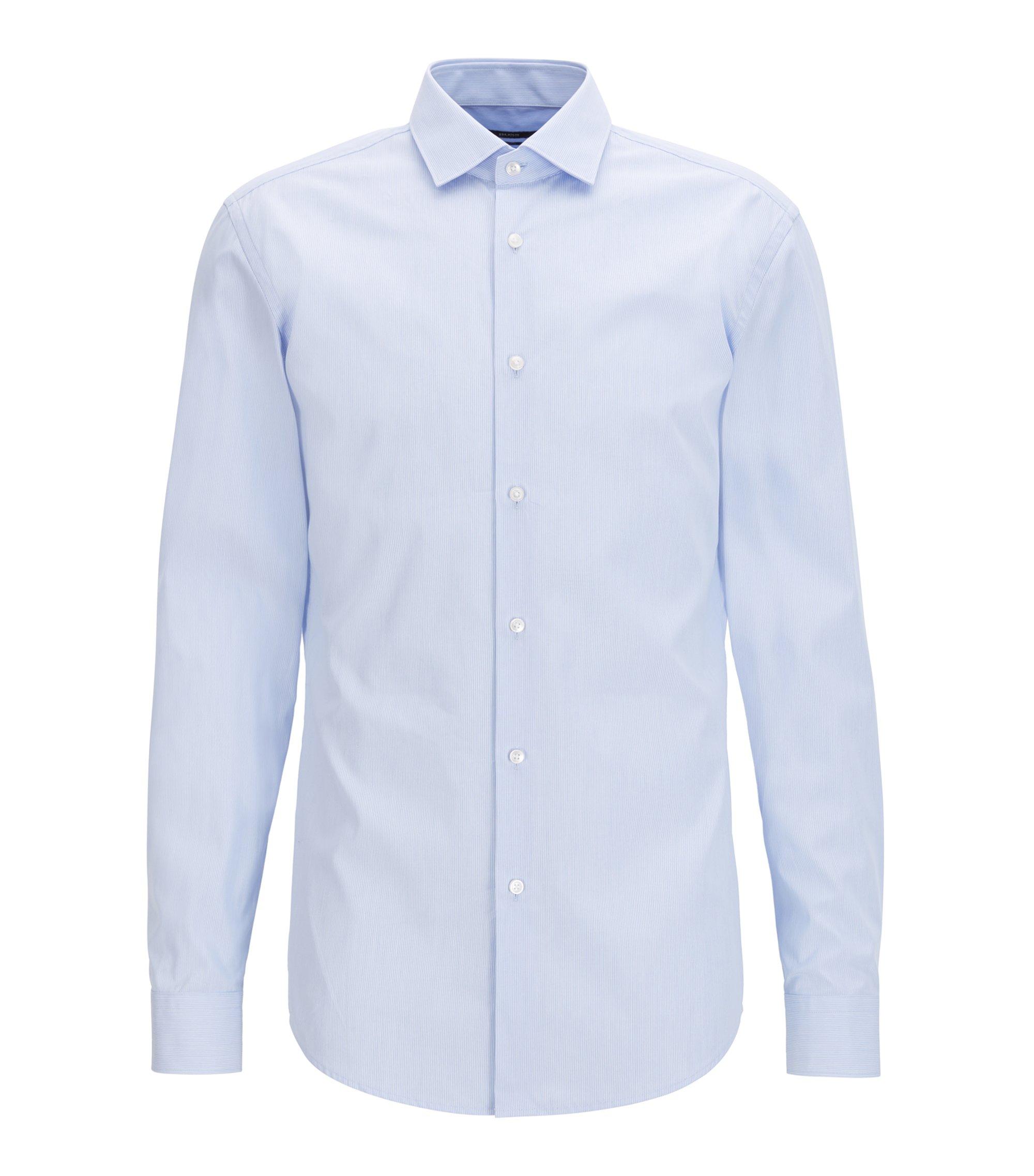 Slim-fit shirt in striped cotton poplin, Light Blue