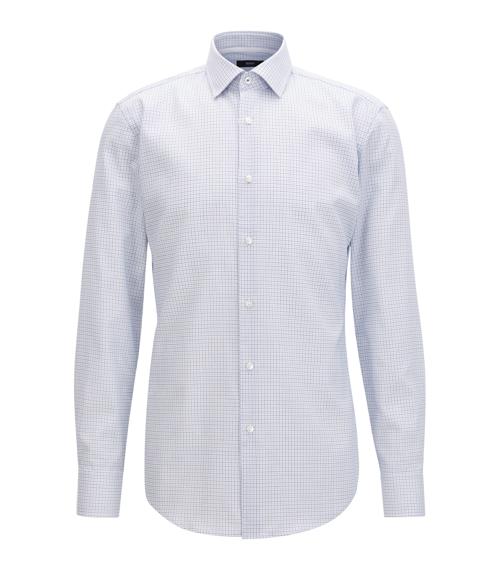 Camicia a quadri slim fit in cotone facile da stirare, Blu