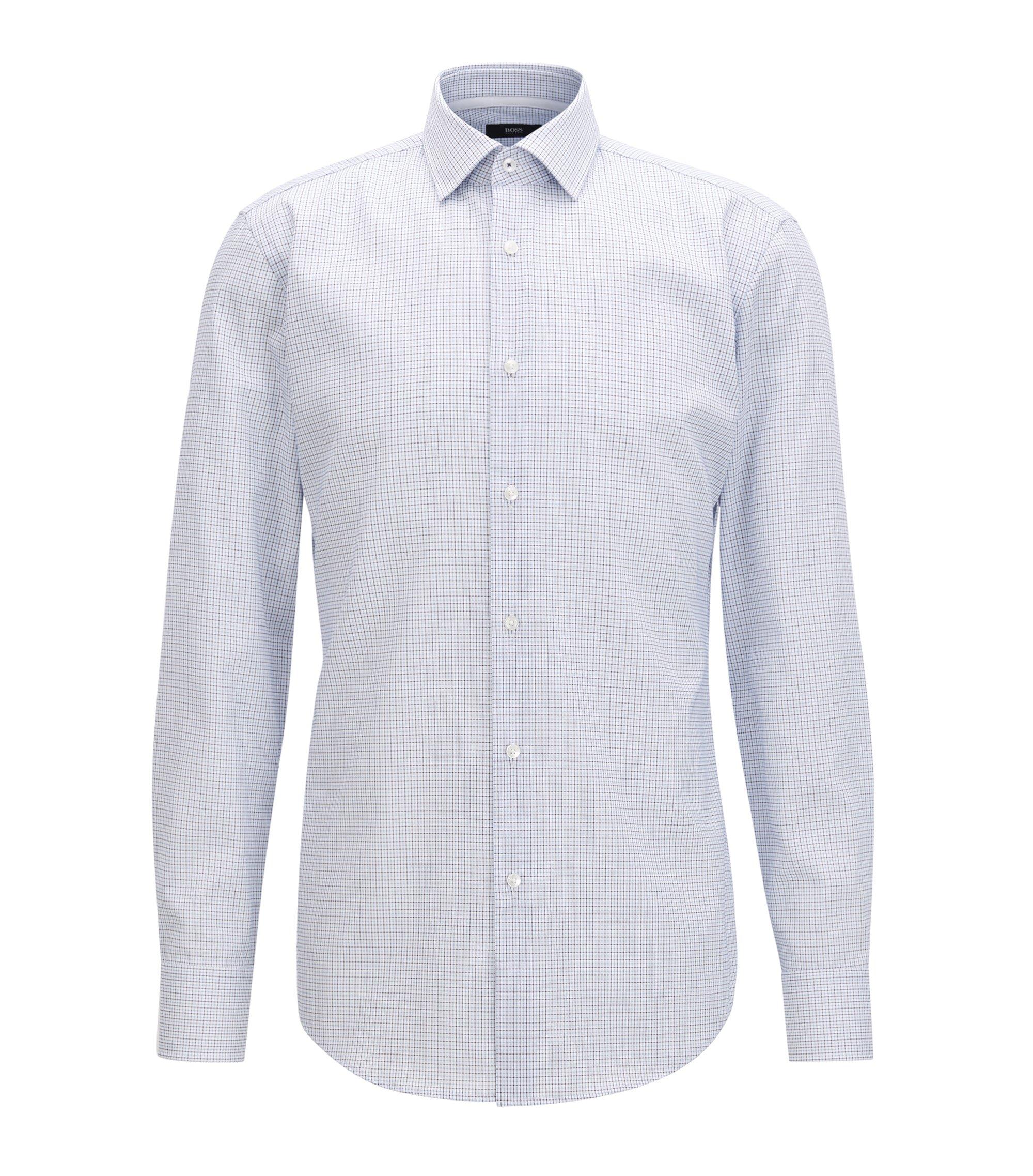 Slim-fit geruit overhemd van gemakkelijk te strijken katoen, Blauw