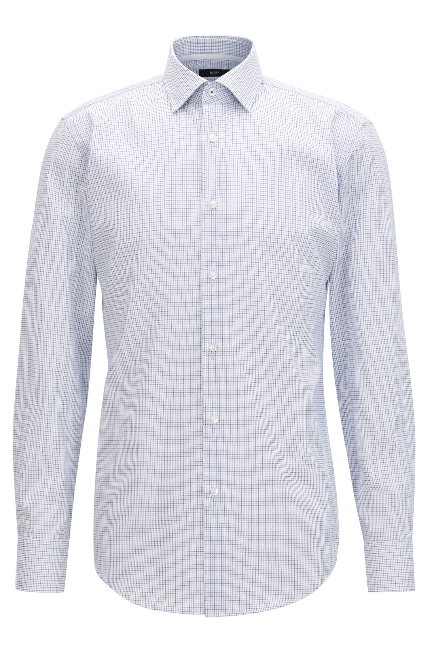 Slim-fit checked shirt in easy-iron cotton