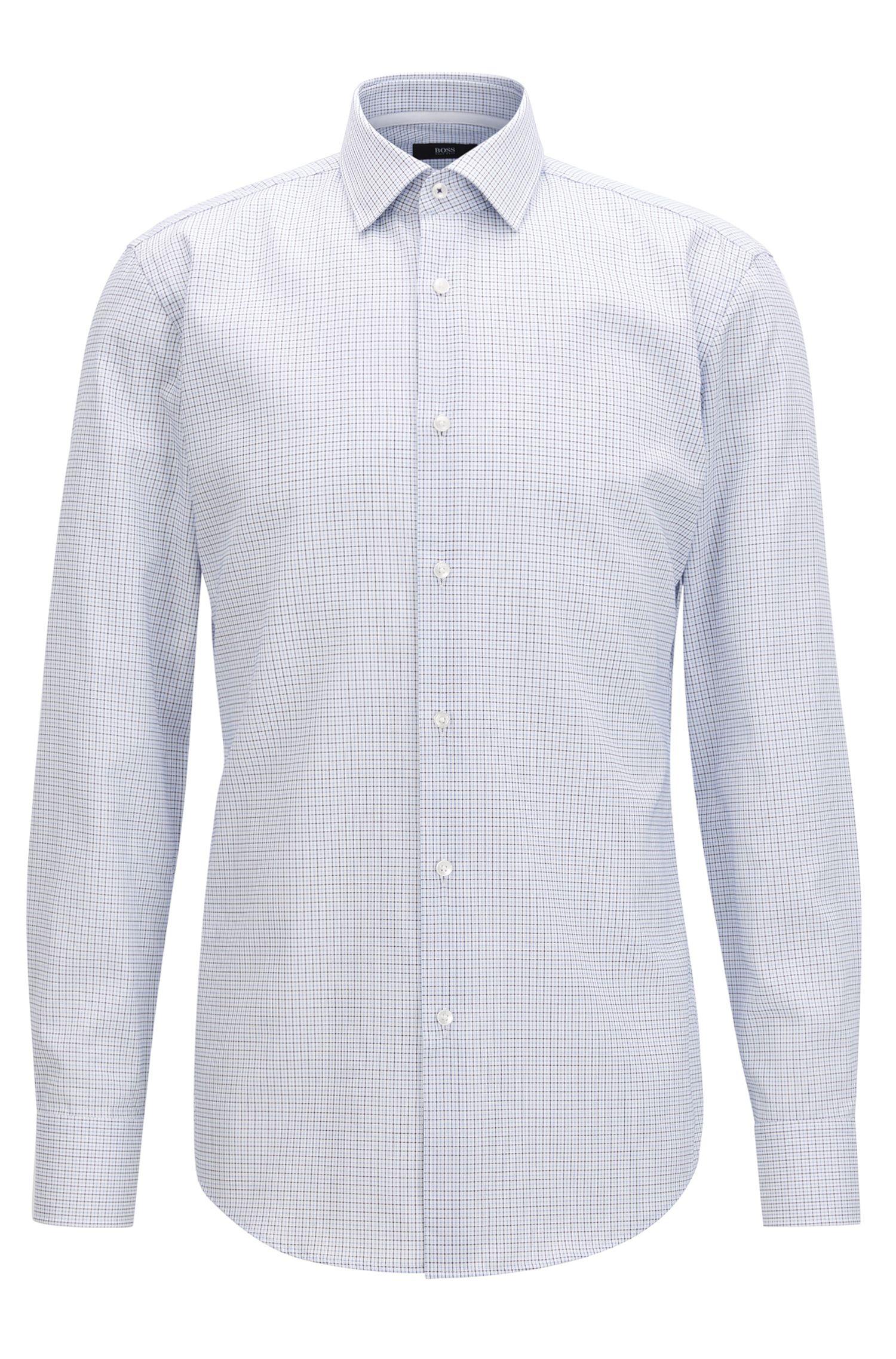 Kariertes Slim-Fit Hemd aus bügelleichter Baumwolle