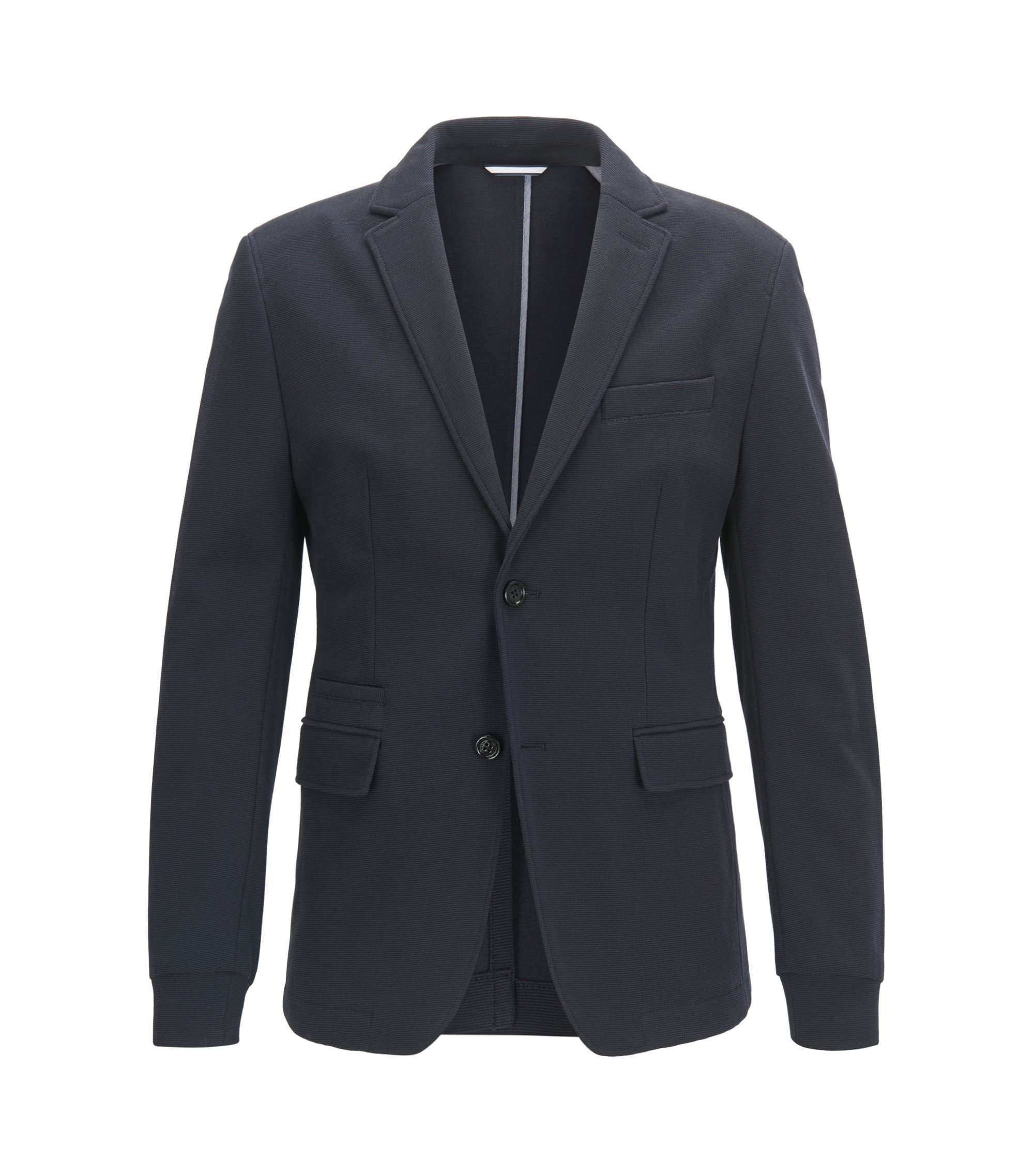 Extra-slim-fit jacket in structured jersey, Dark Blue