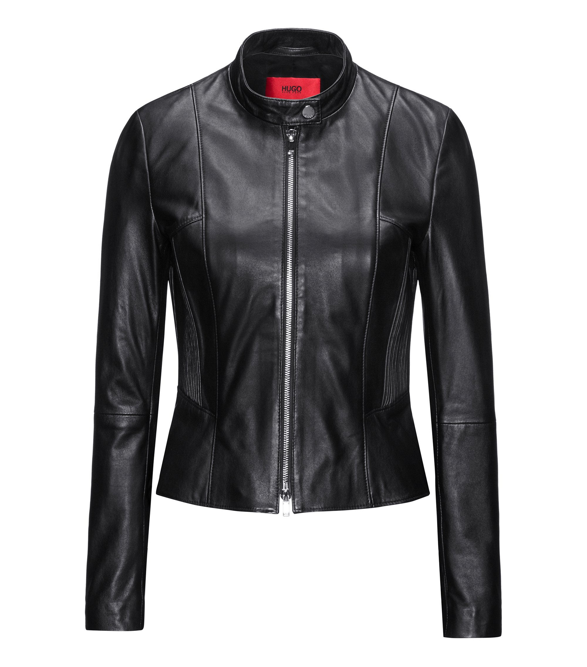 Regular-fit leather jacket with smocking, Black