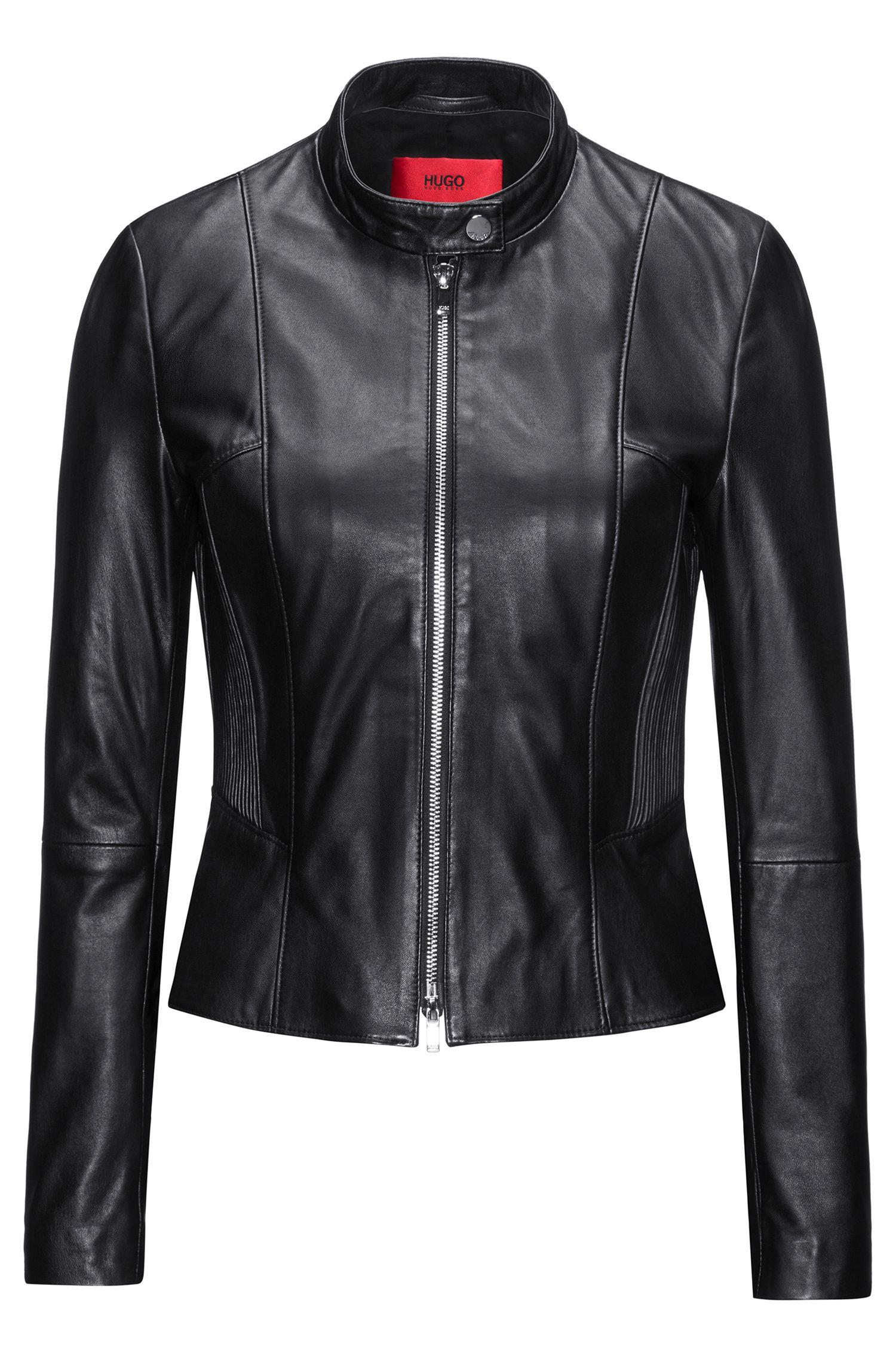 Regular-fit leather jacket with smocking