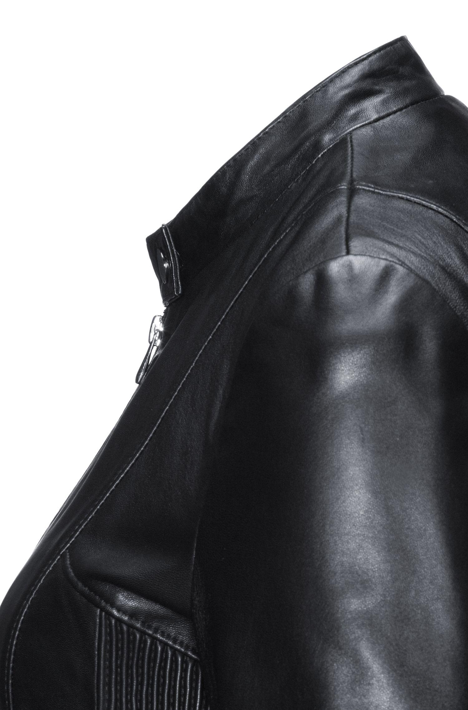 Blouson en cuir Regular Fit à détails smockés