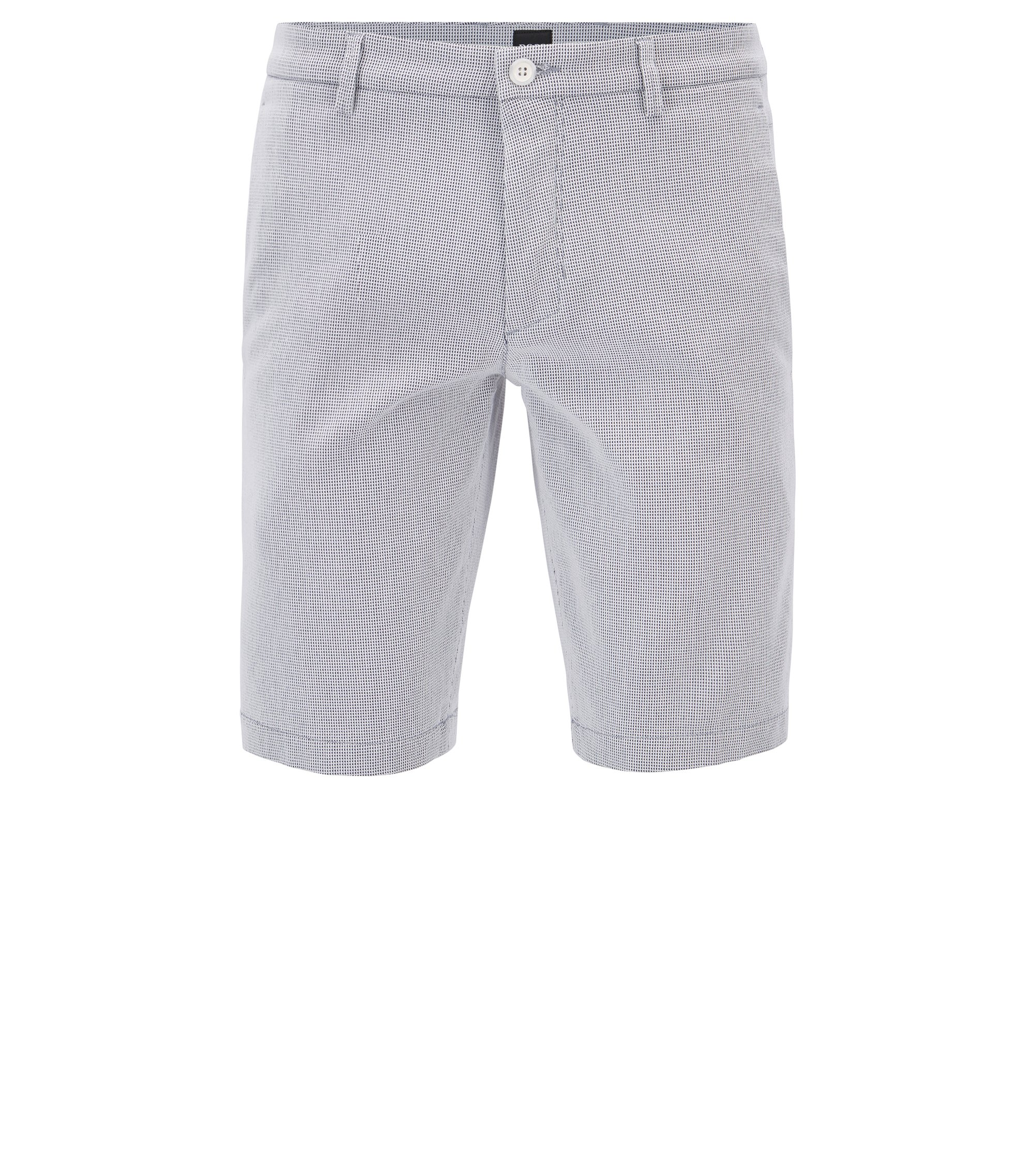 Short Slim Fit en coton stretch structuré, Bleu