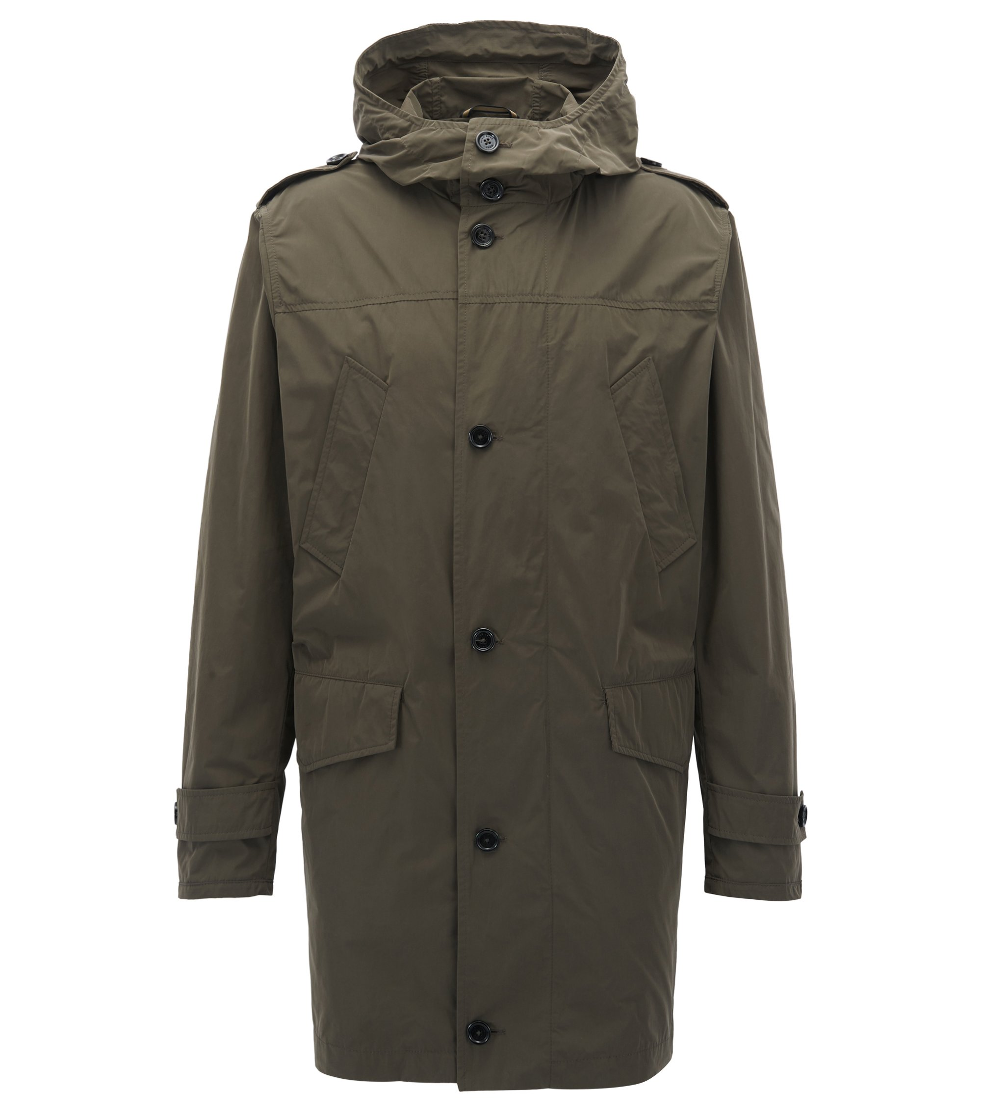 Utility-inspired parka in water-repellent microfibre, Dark Green