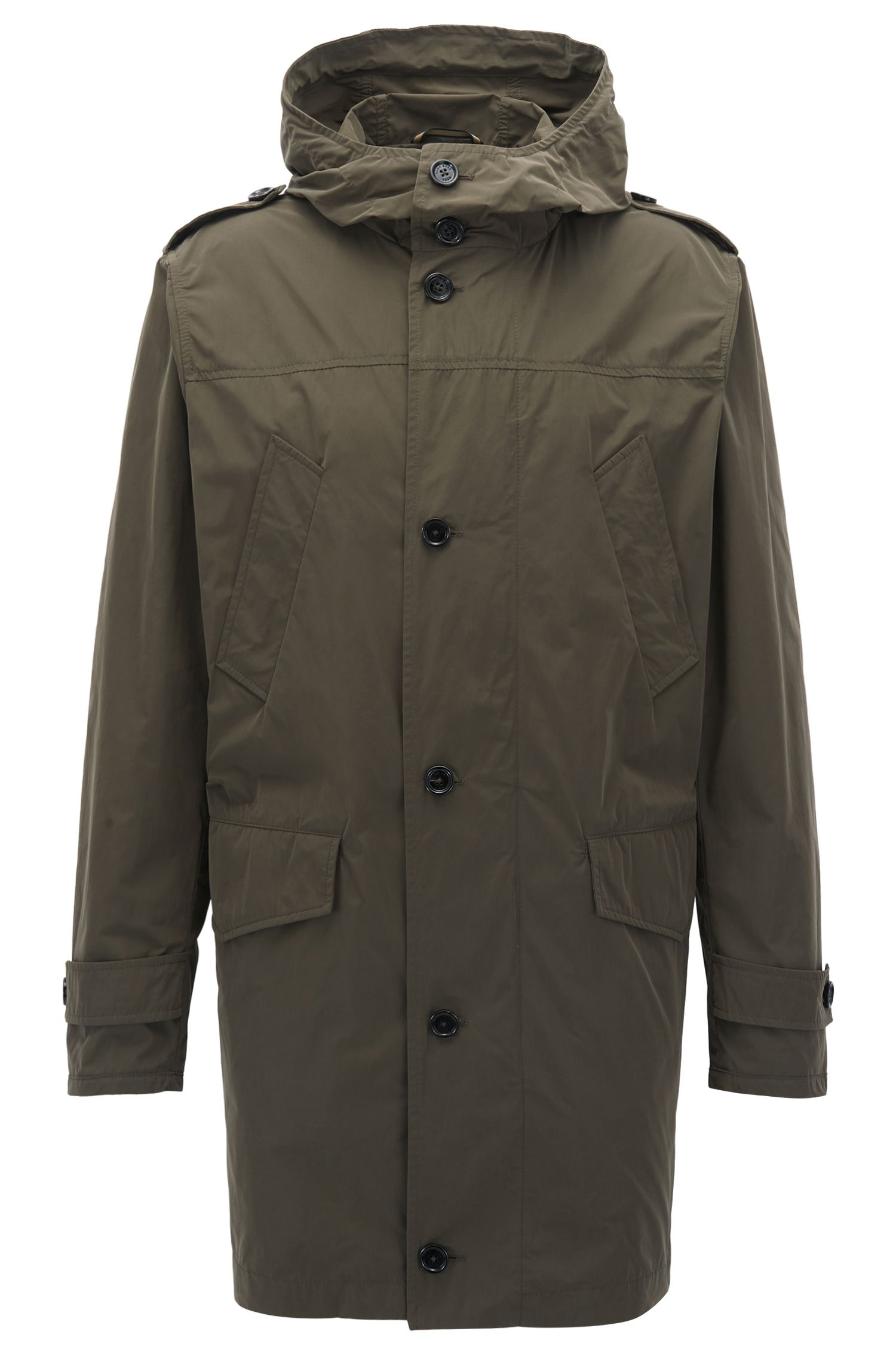 Utility-inspired parka in water-repellent microfibre