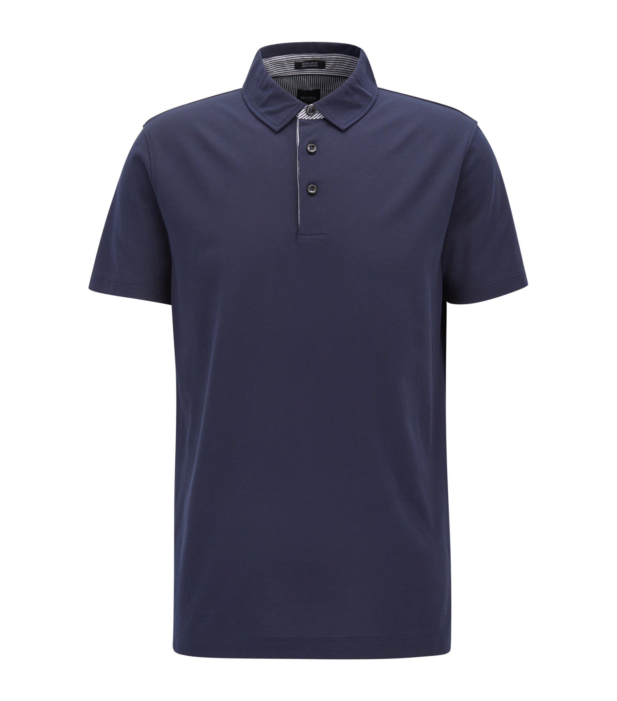 Polo shirt in mercerised piqué cotton, Dark Blue