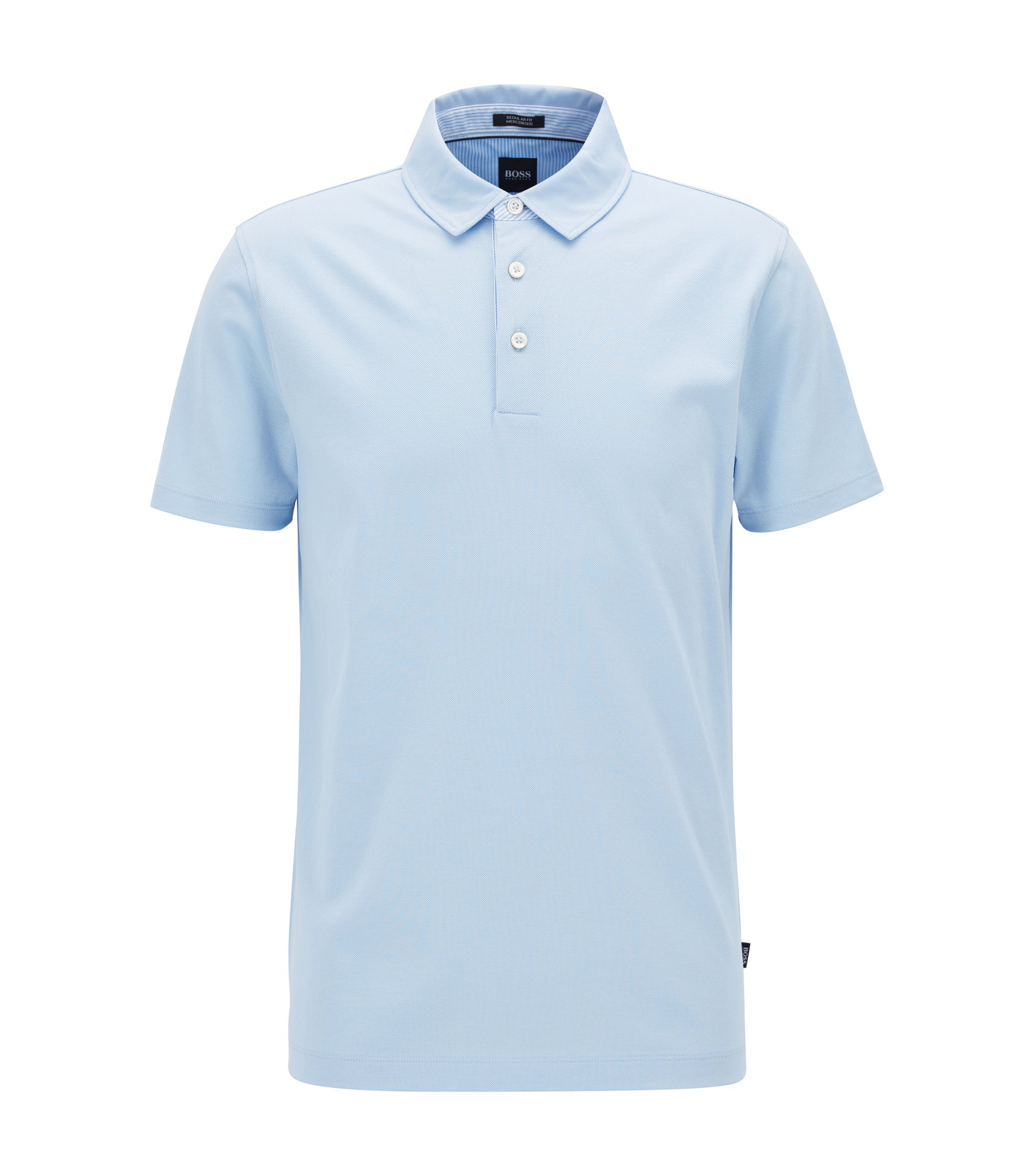 Polo shirt in mercerised piqué cotton, Light Blue