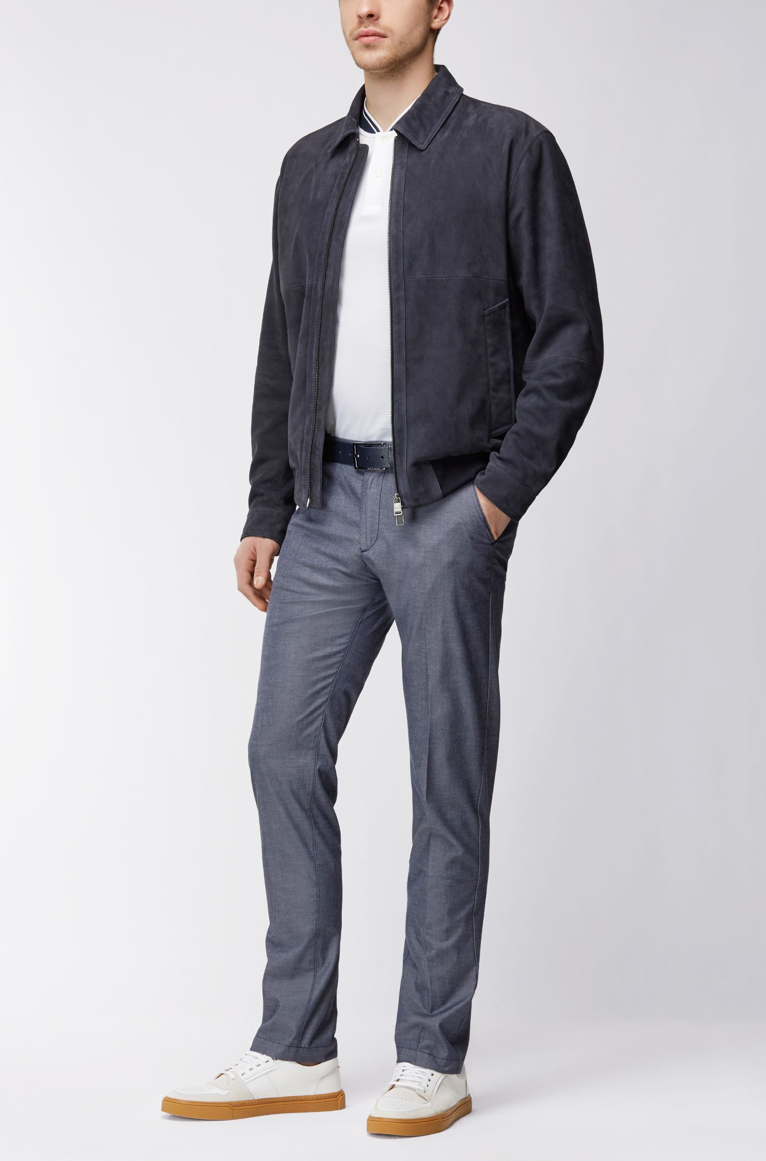 Stretch-cotton chambray chinos in a slim fit BOSS