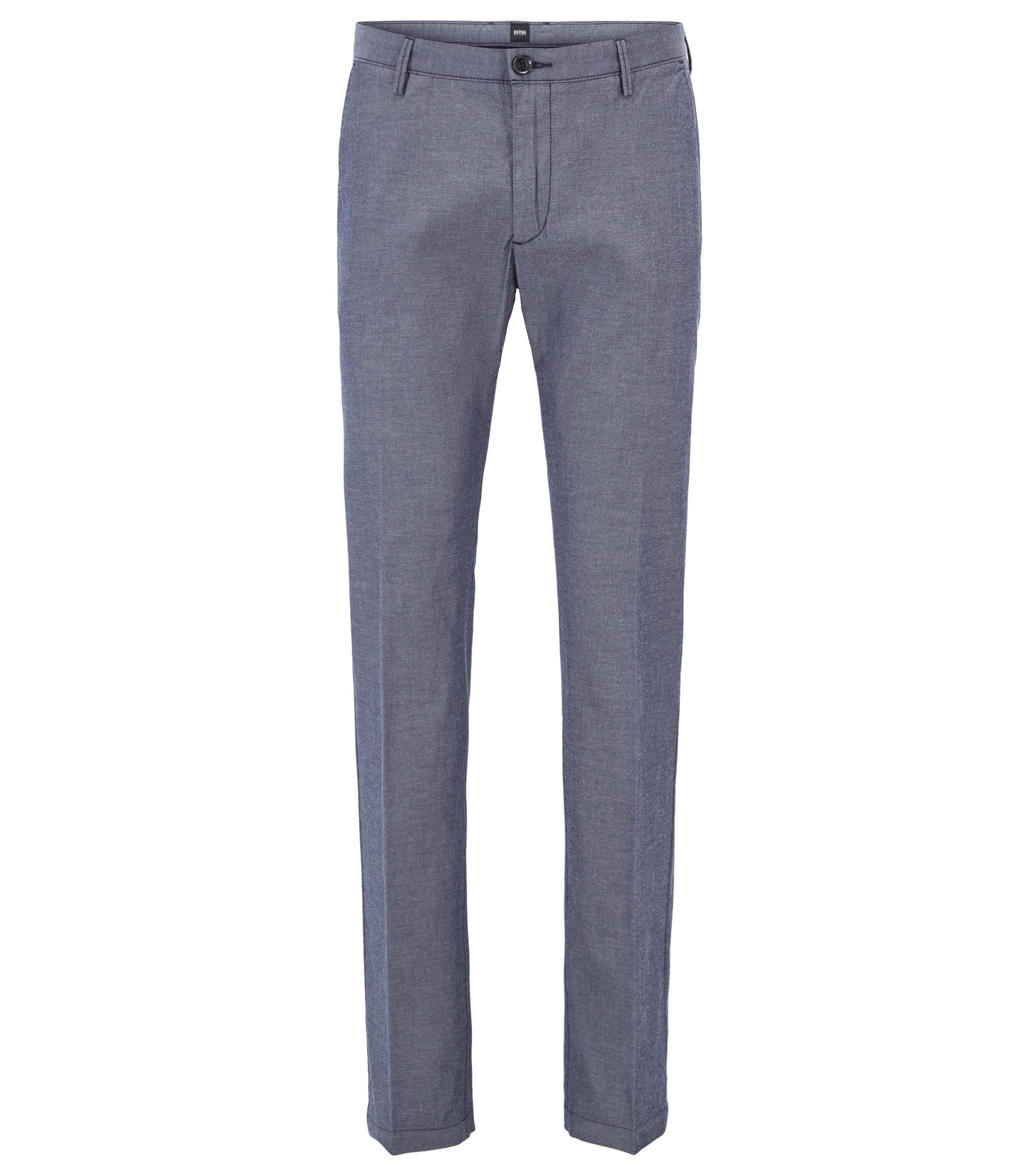 Chino Slim Fit en chambray de coton stretch, Bleu foncé