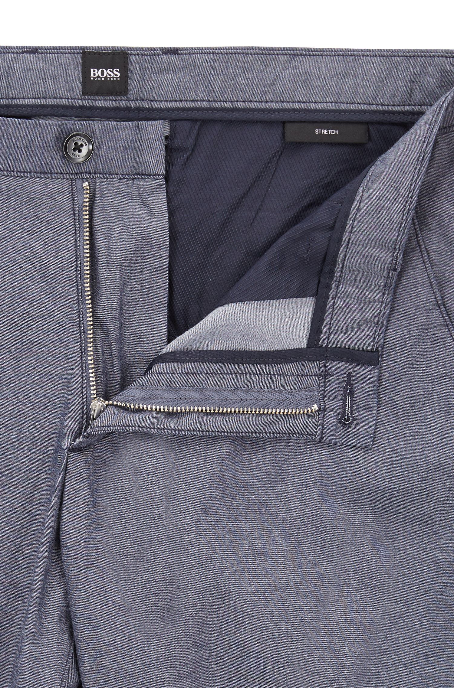 Chino slim fit in cotone chambray elasticizzato