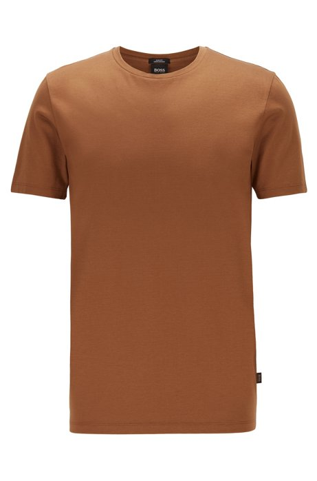 T-shirt Slim Fit en coton mercerisé, Marron foncé