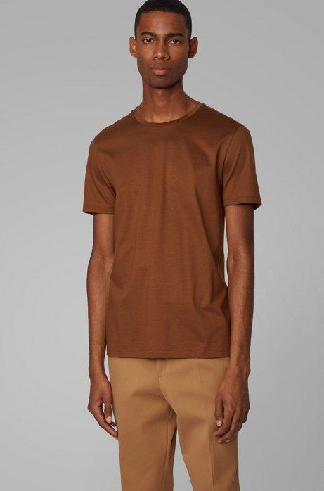 Slim-Fit T-Shirt aus merzerisierter Baumwolle, Dunkelbraun